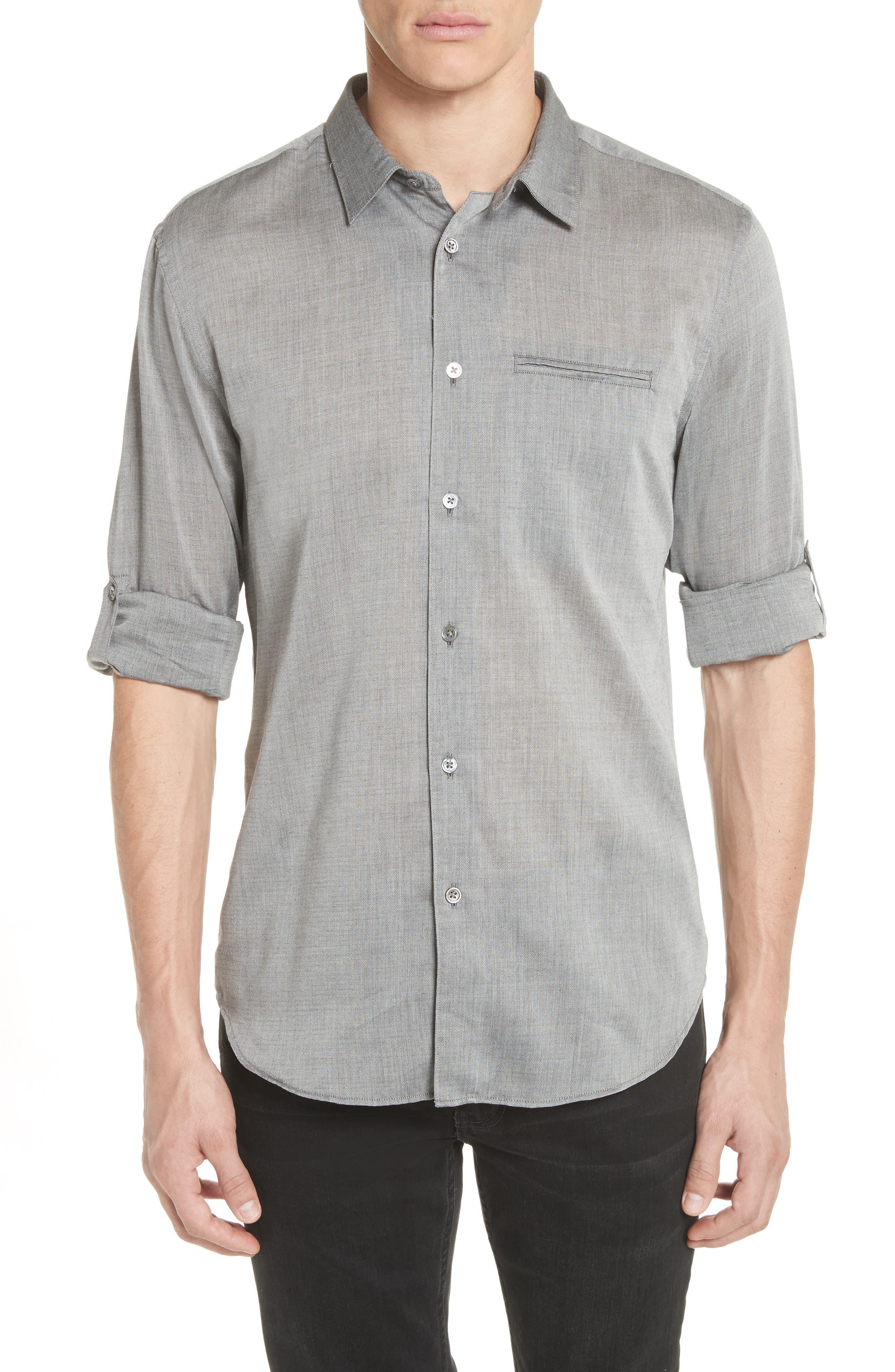 Slim Fit Roller Long Sleeve Shirt,                         Main,                         color, Grey Hthr