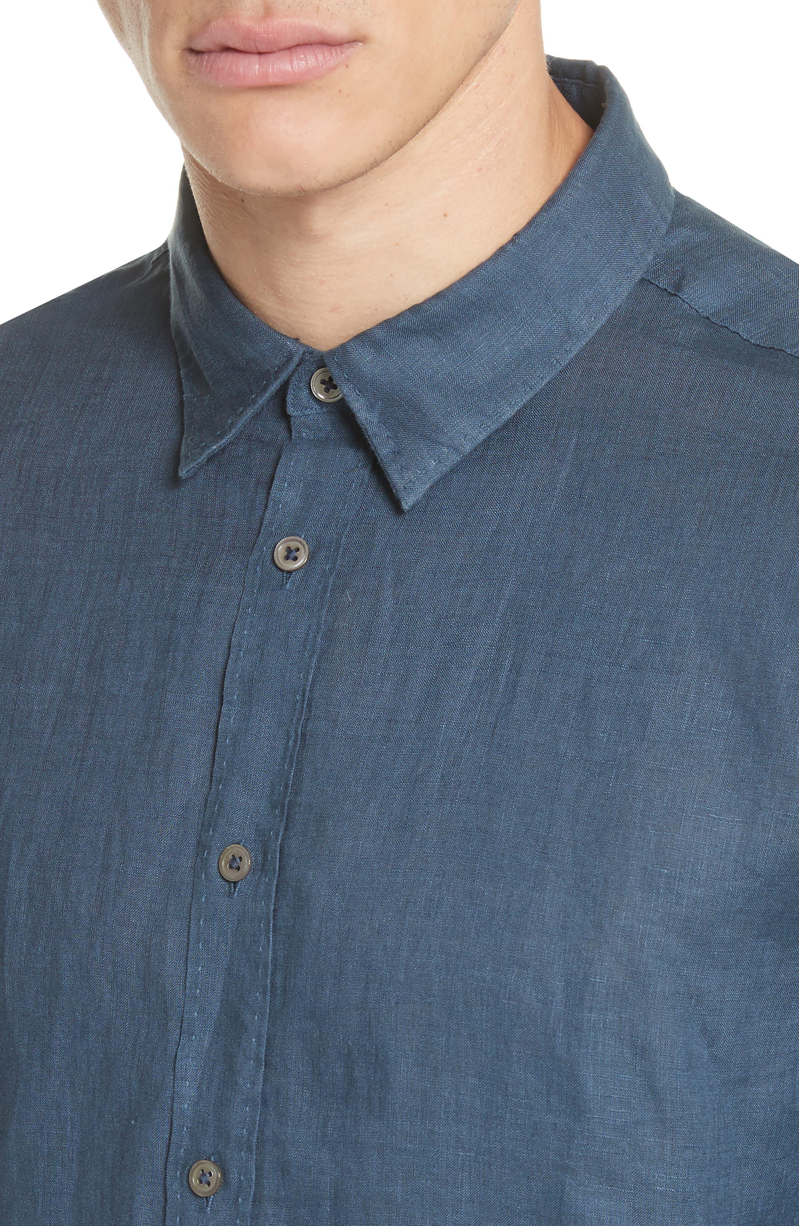 Collection Garment Dyed Linen Shirt,                             Alternate thumbnail 4, color,                             Lake Blue
