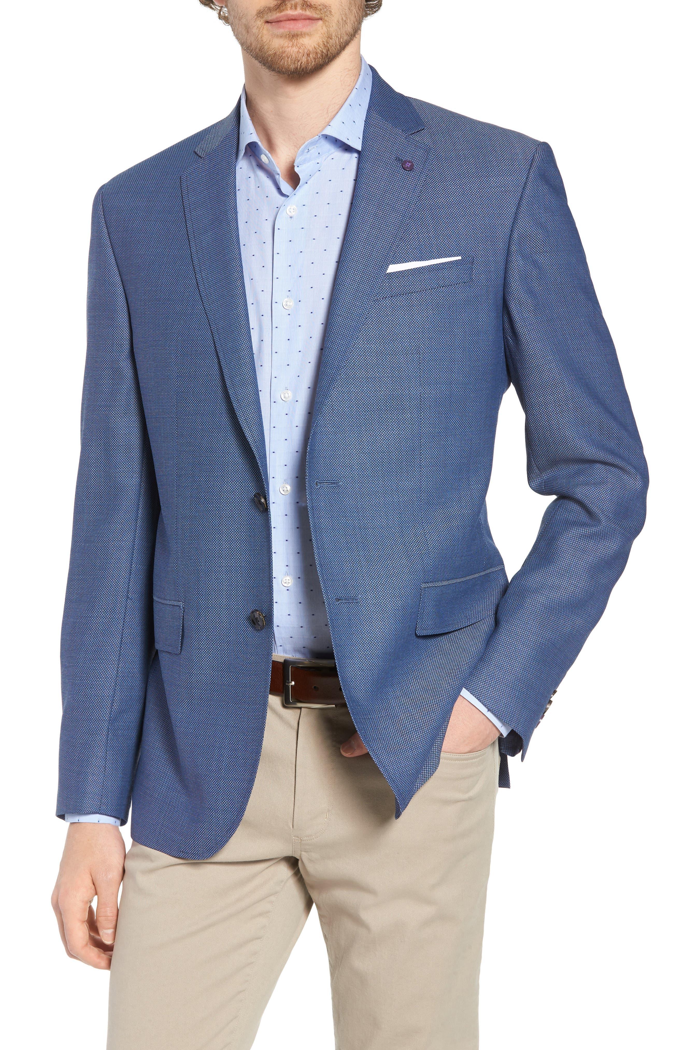 Jay Trim Fit Wool Blazer,                         Main,                         color, Blue