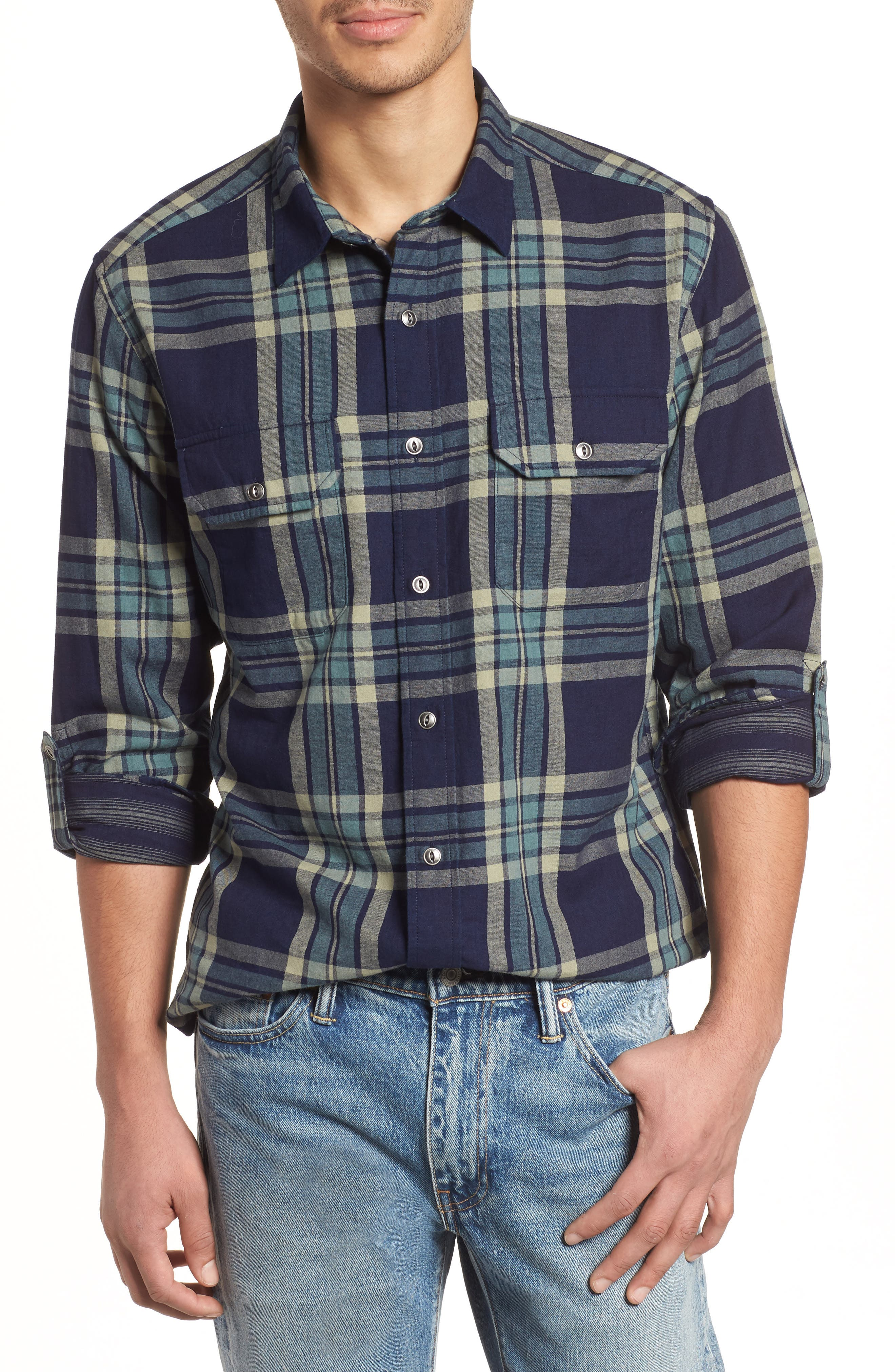 Thomas Kay Double Face Shirt,                         Main,                         color, Indigo Plaid