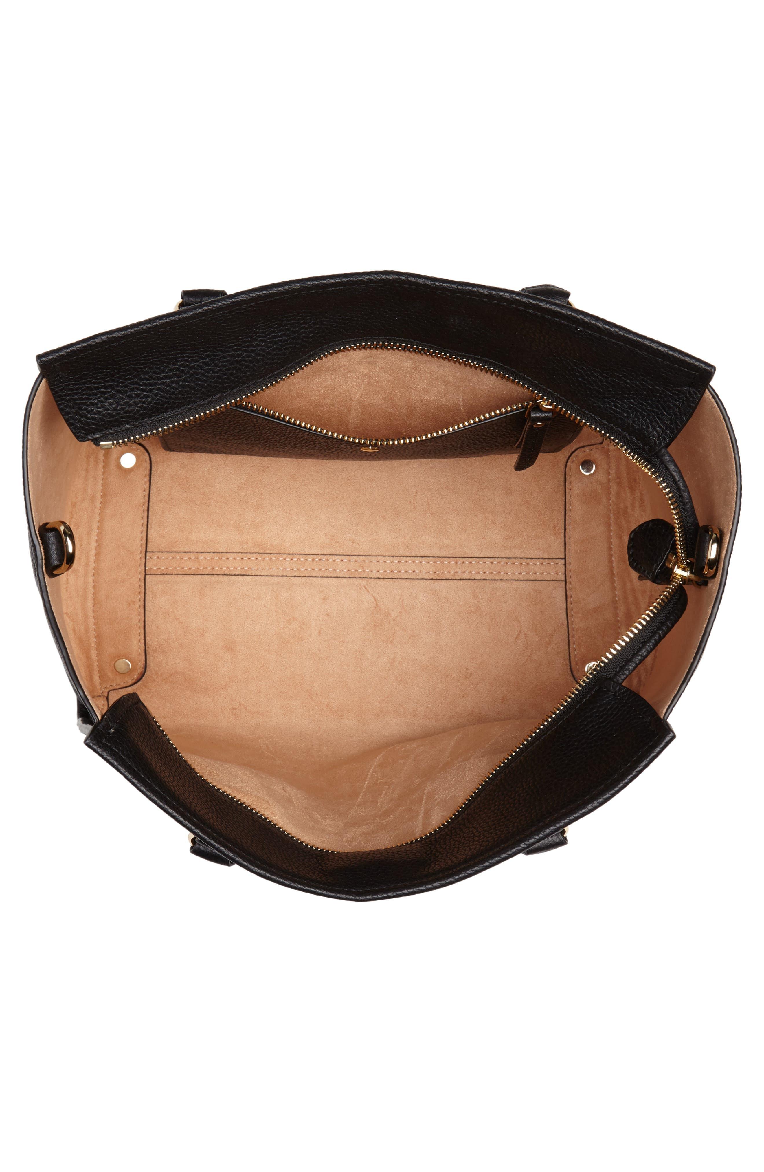 trent hill - hayden leather satchel,                             Alternate thumbnail 4, color,                             Black