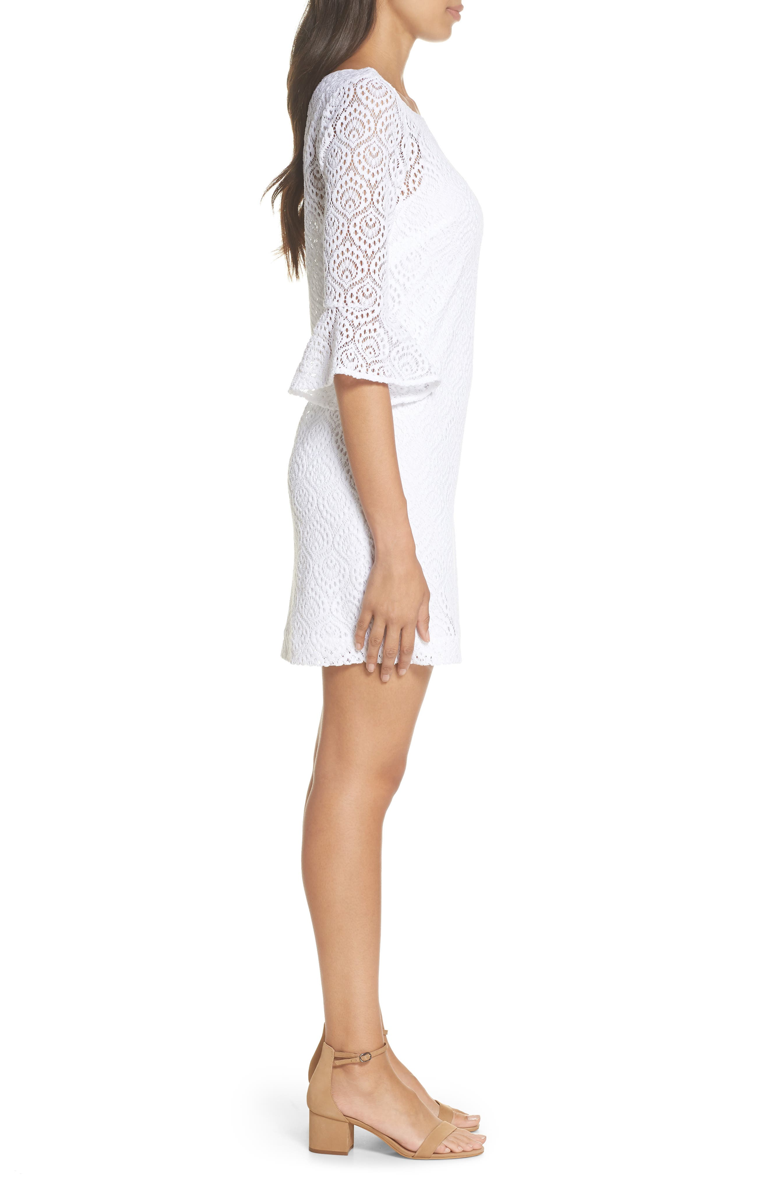 Fontaine Lace Minidress,                             Alternate thumbnail 3, color,                             Resort White Gypsea Lace