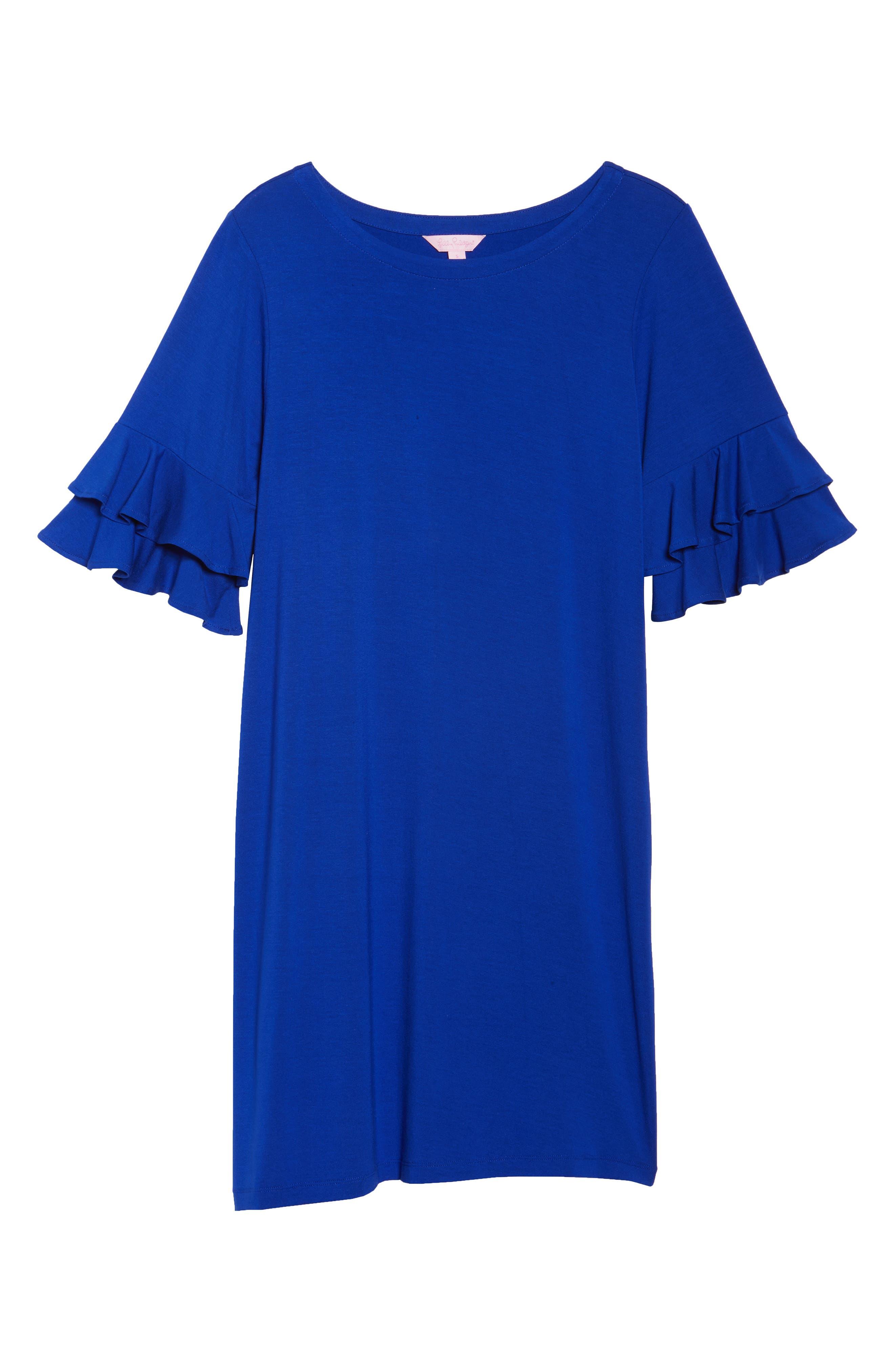 Lula Ruffle Sleeve Dress,                             Alternate thumbnail 6, color,                             Twilight Blue