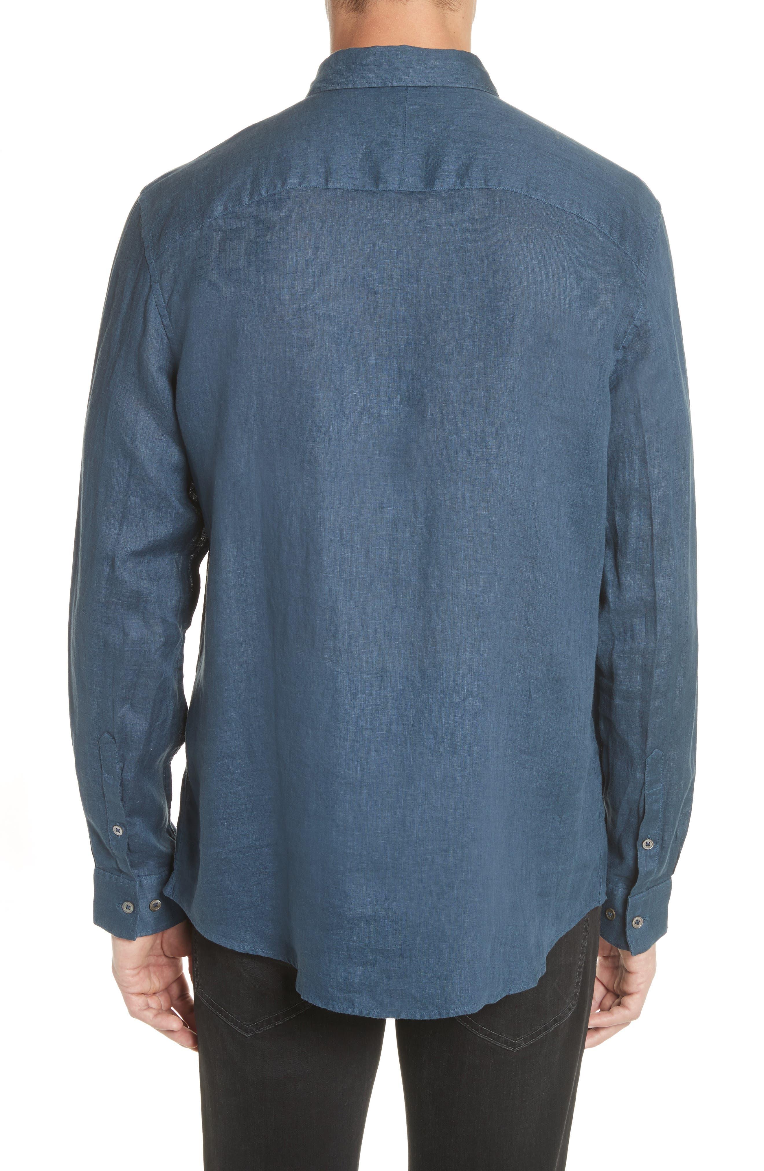 Collection Garment Dyed Linen Shirt,                             Alternate thumbnail 2, color,                             Lake Blue