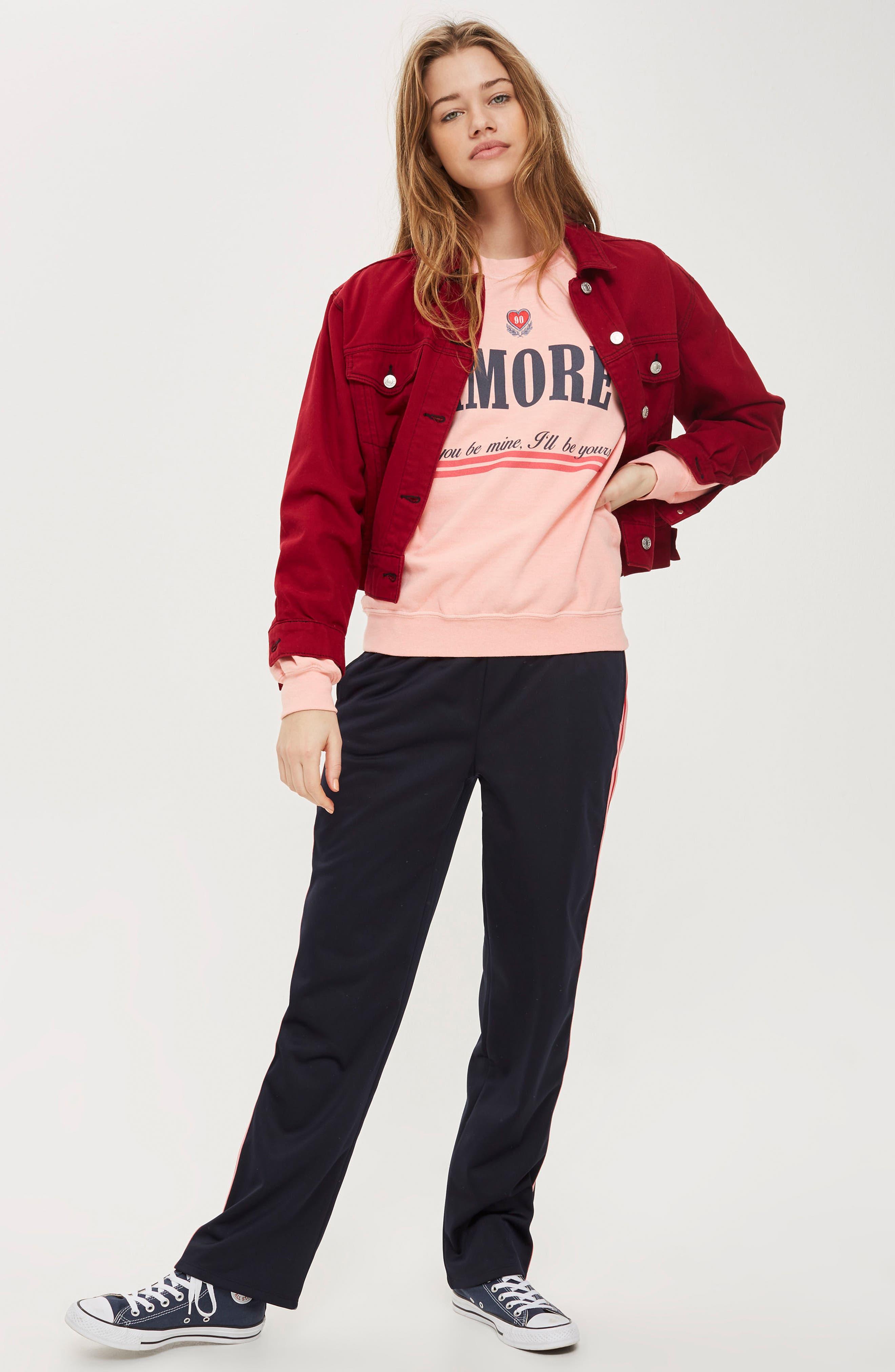 Alternate Image 2  - Topshop Embroidered Amore Sweatshirt