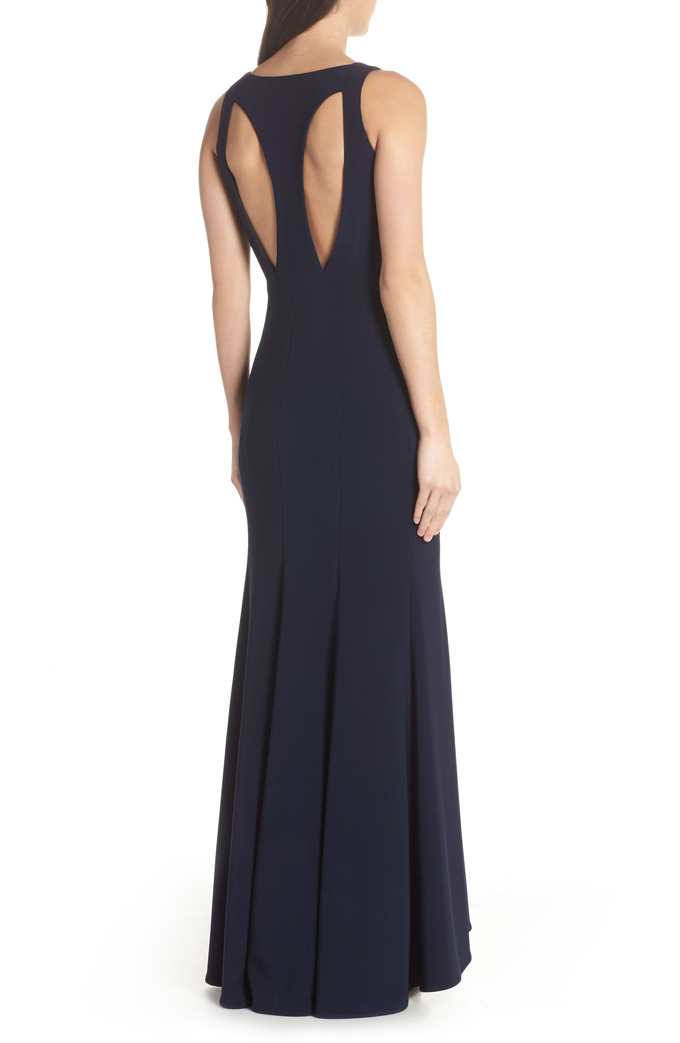 Deep V-Neck Trumpet Gown,                             Alternate thumbnail 2, color,                             Navy
