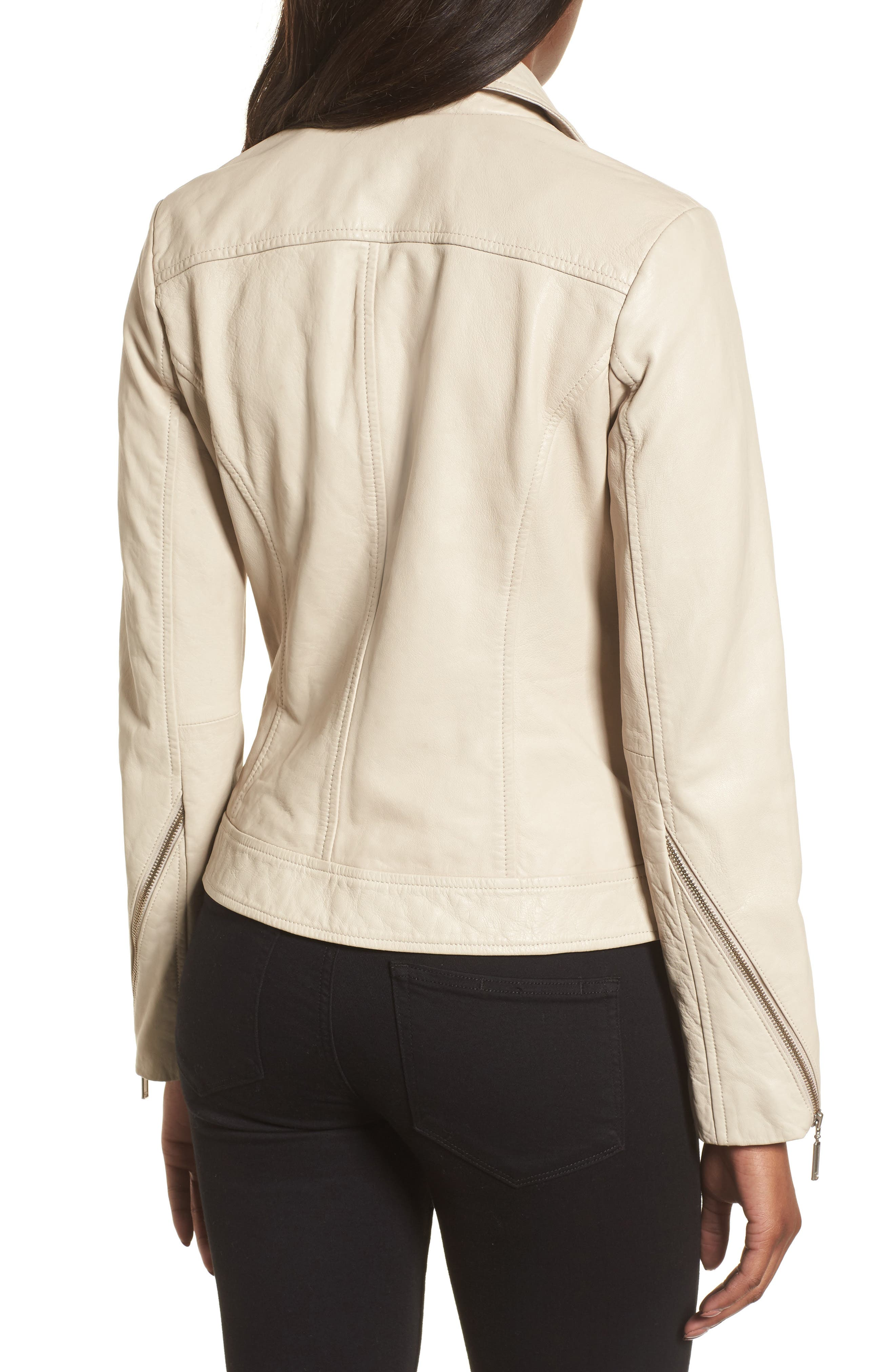 Moto Zip Leather Jacket,                             Alternate thumbnail 2, color,                             Champagne