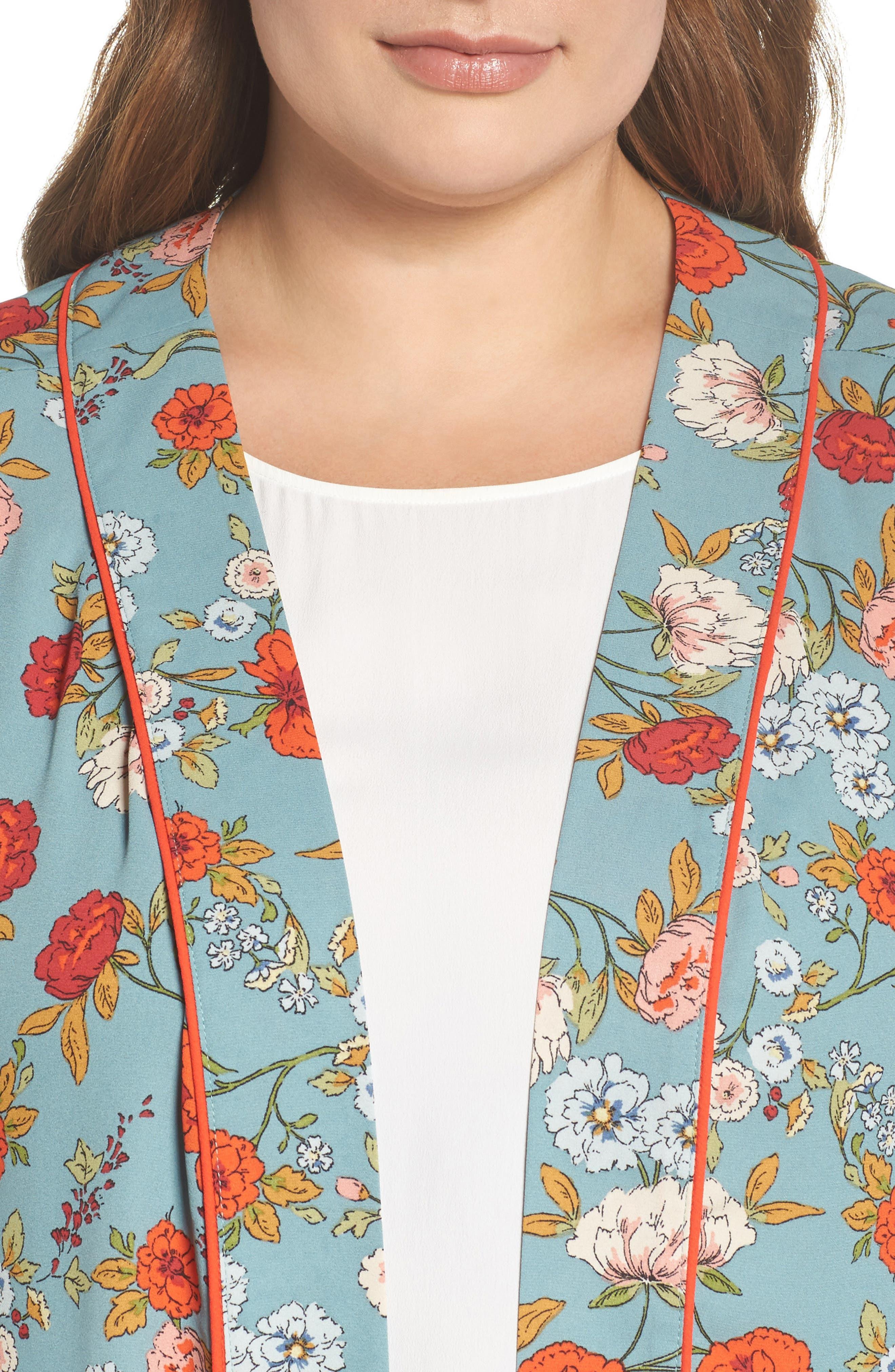Floral Kimono,                             Alternate thumbnail 4, color,                             D598n Basil