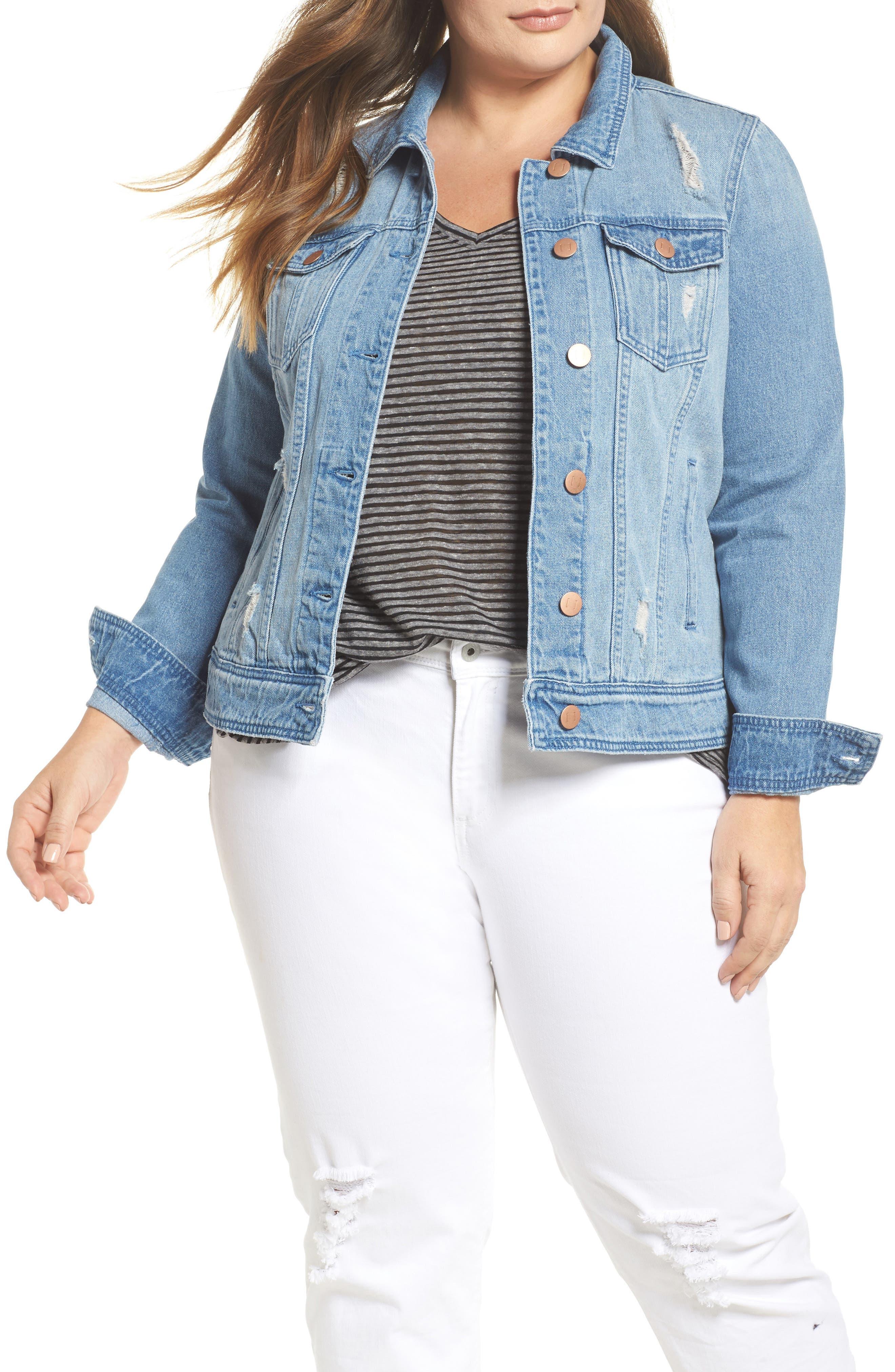 Main Image - JUNAROSE Altala Denim Jacket (Plus Size)