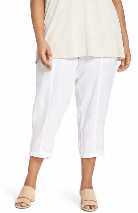 Eileen Fisher Linen Ankle Pants (Plus Size)