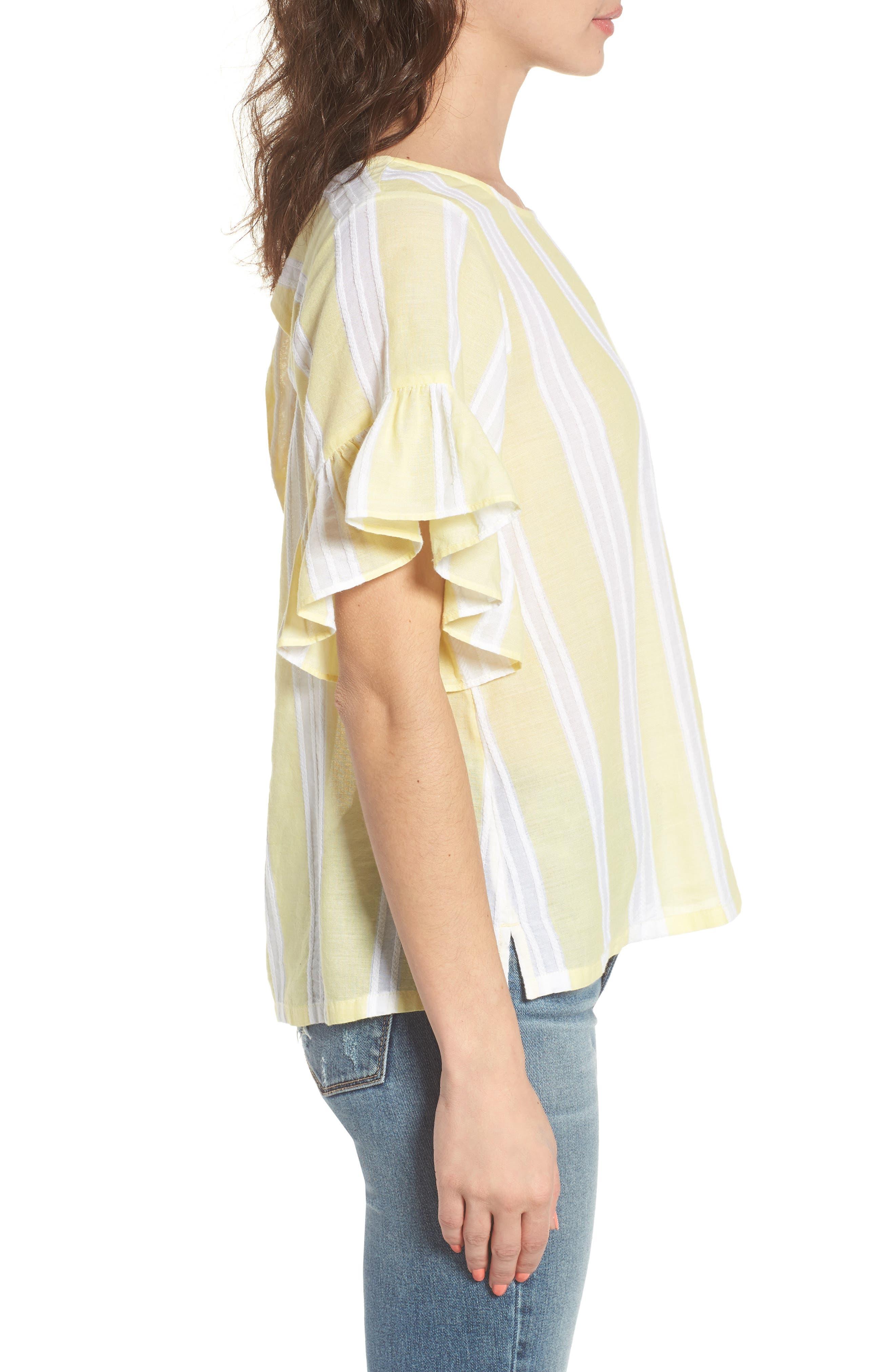 Stripe Tie Back Top,                             Alternate thumbnail 3, color,                             Yellow Glow Lena Stripe