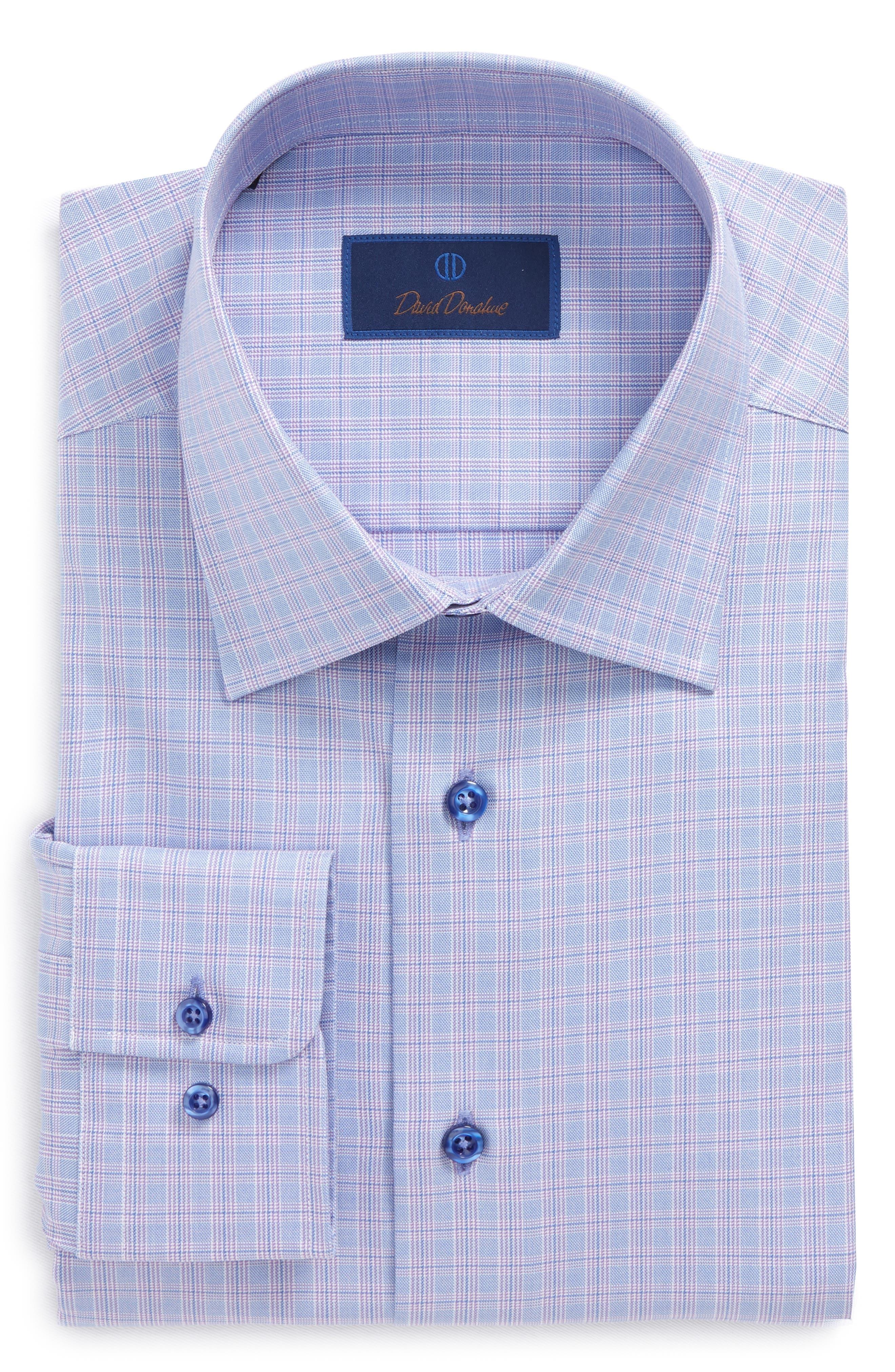 Regular Fit Plaid Dress Shirt,                         Main,                         color, Lilac