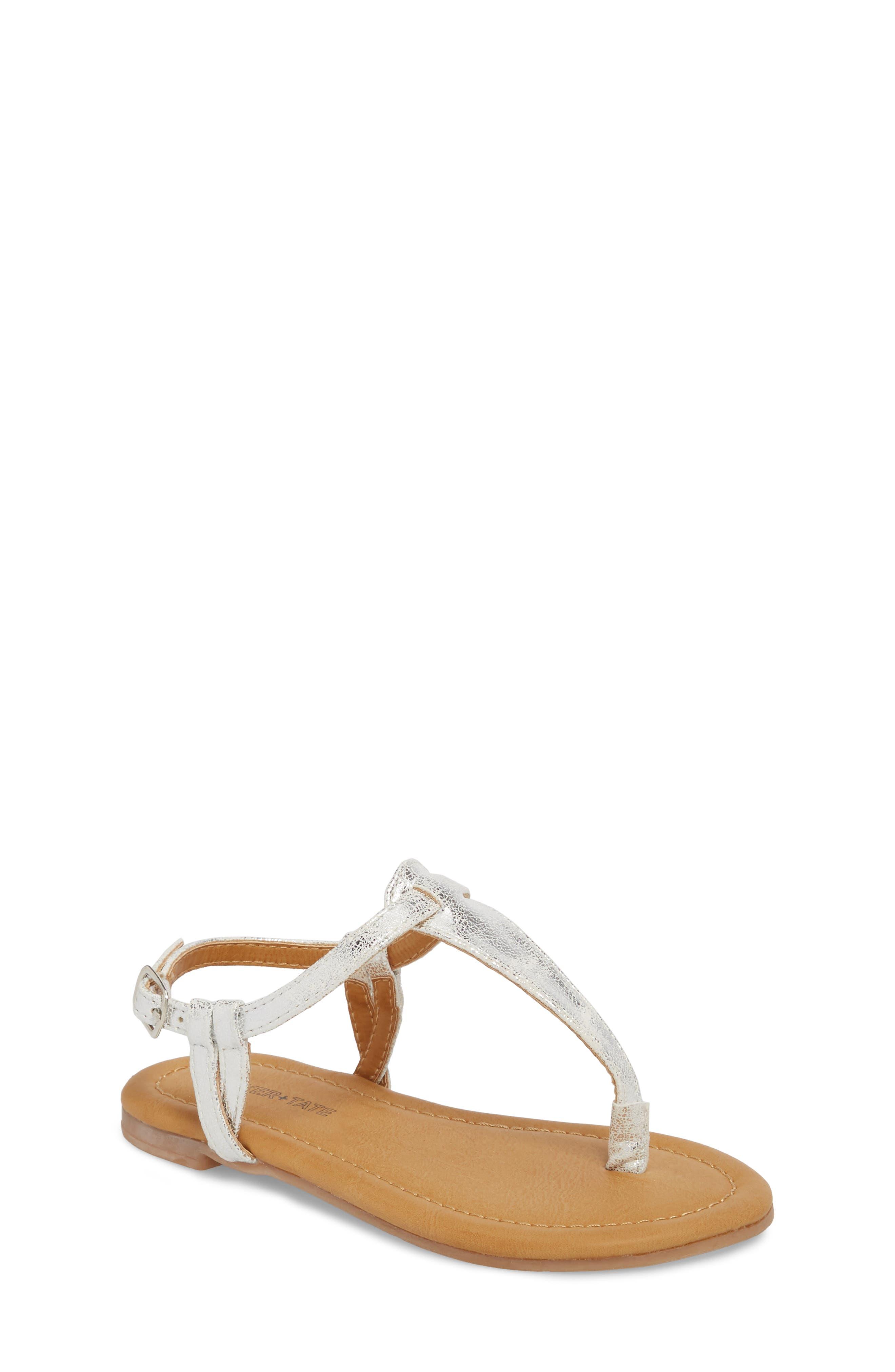 Lizzie Sandal,                             Main thumbnail 1, color,                             White/ Silver Faux Leather