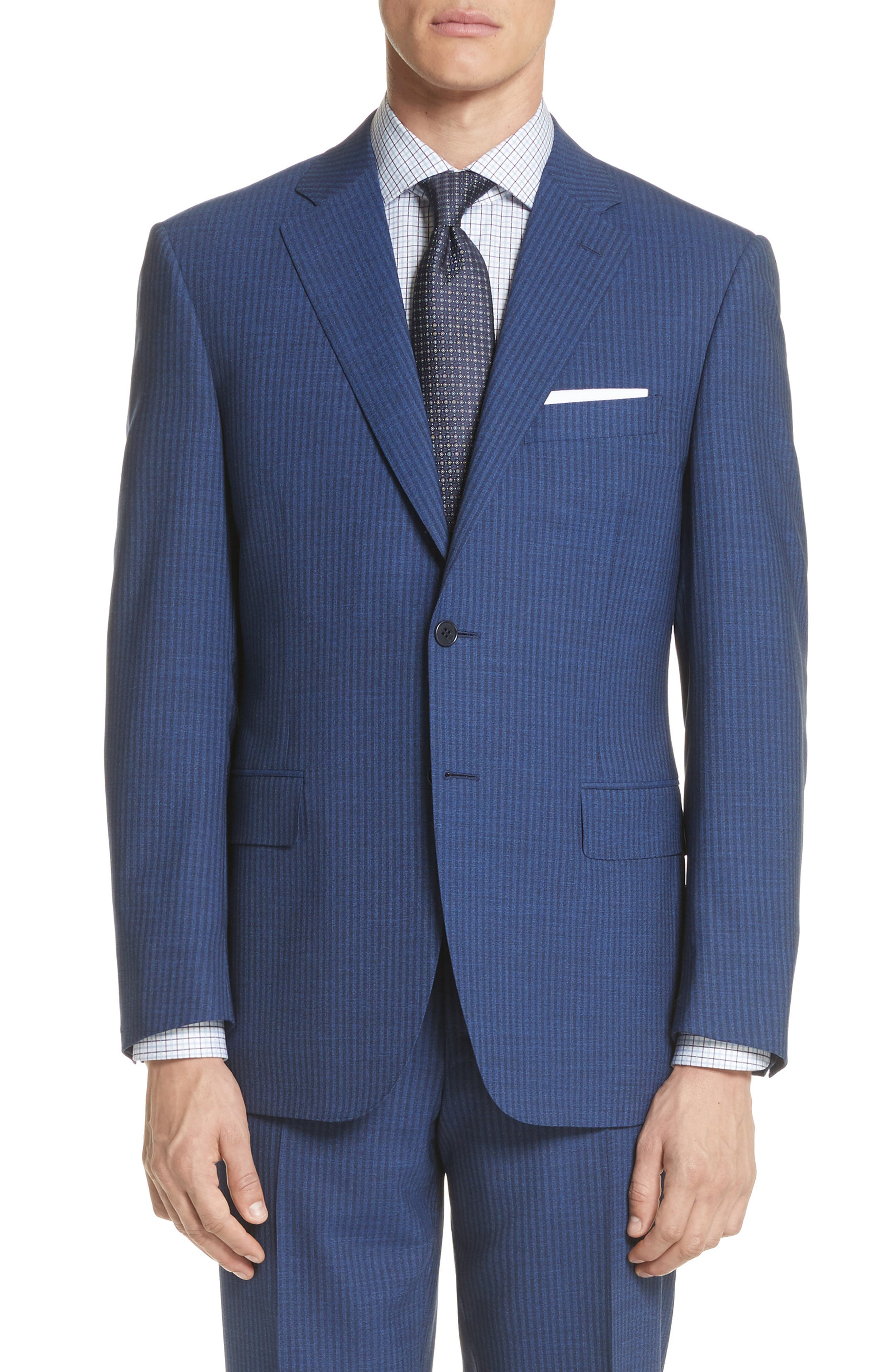 Classic Fit Shadow Stripe Wool Suit,                             Alternate thumbnail 5, color,                             Navy