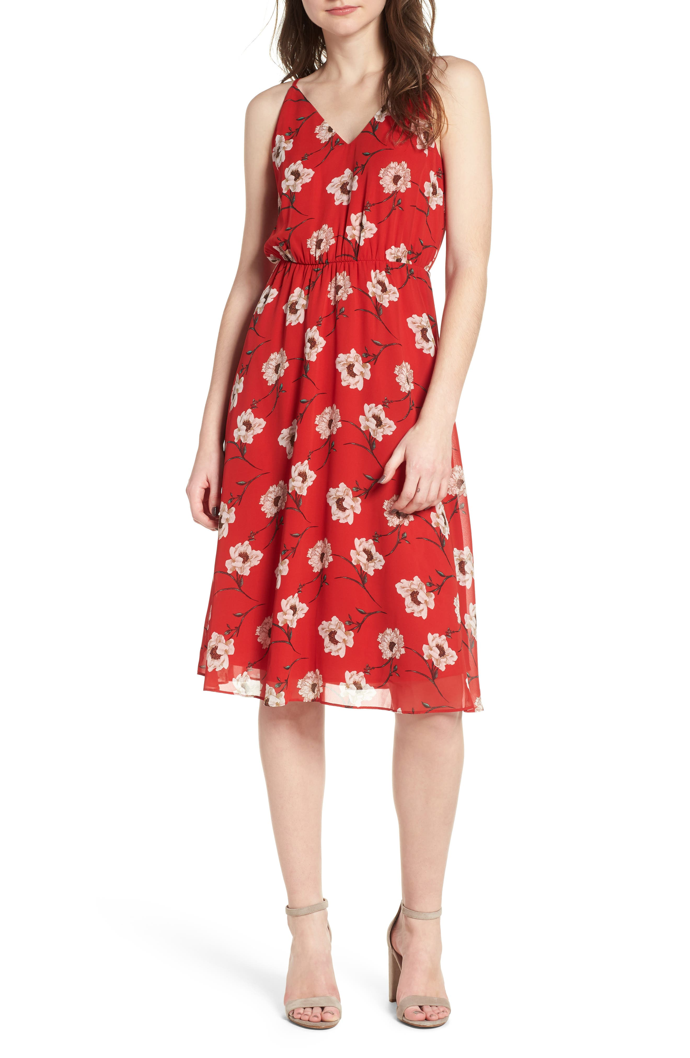 Soprano Floral Blouson Midi Dress