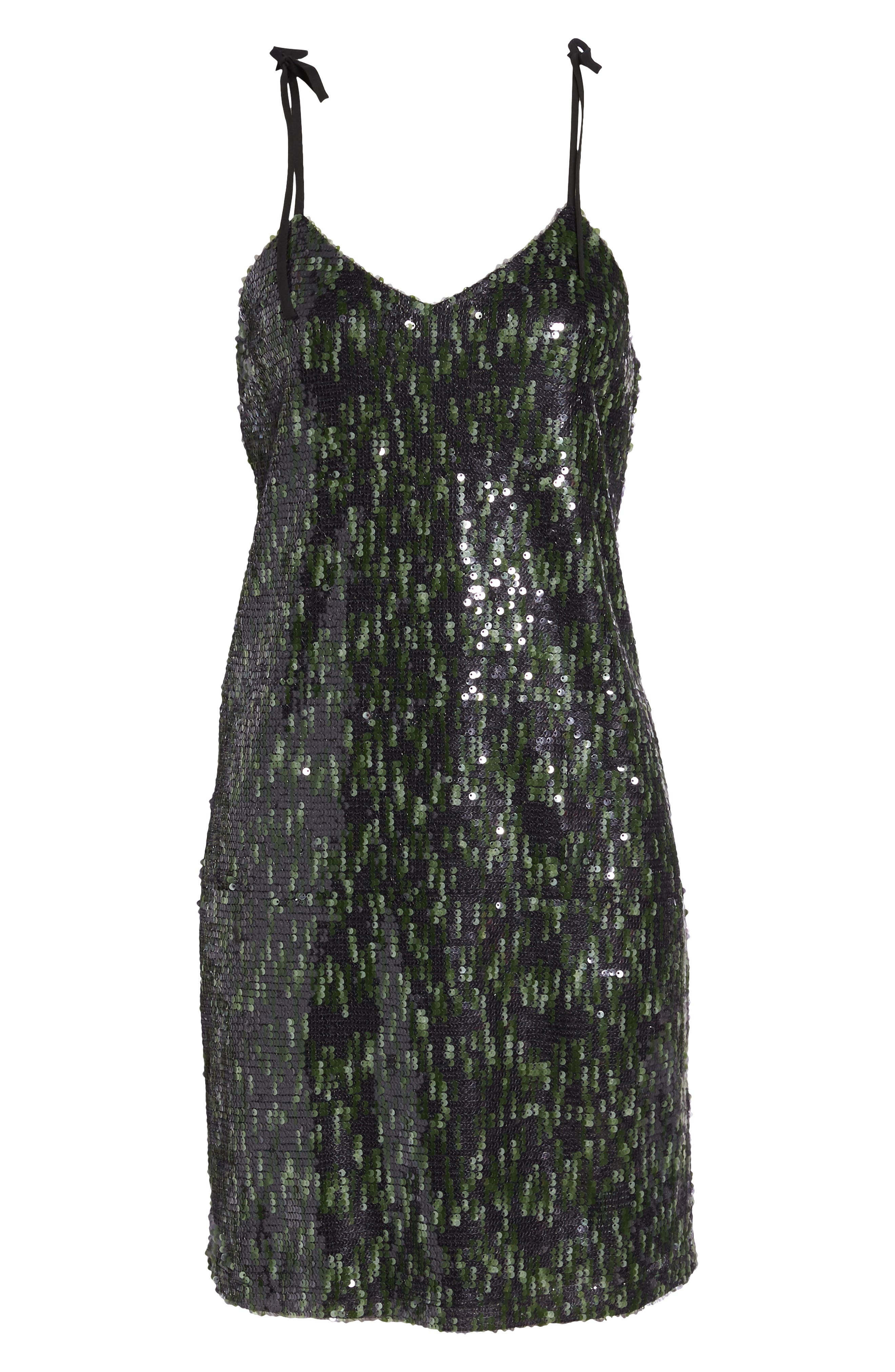 Camo Sequin Dress,                             Alternate thumbnail 6, color,                             Black/ Green