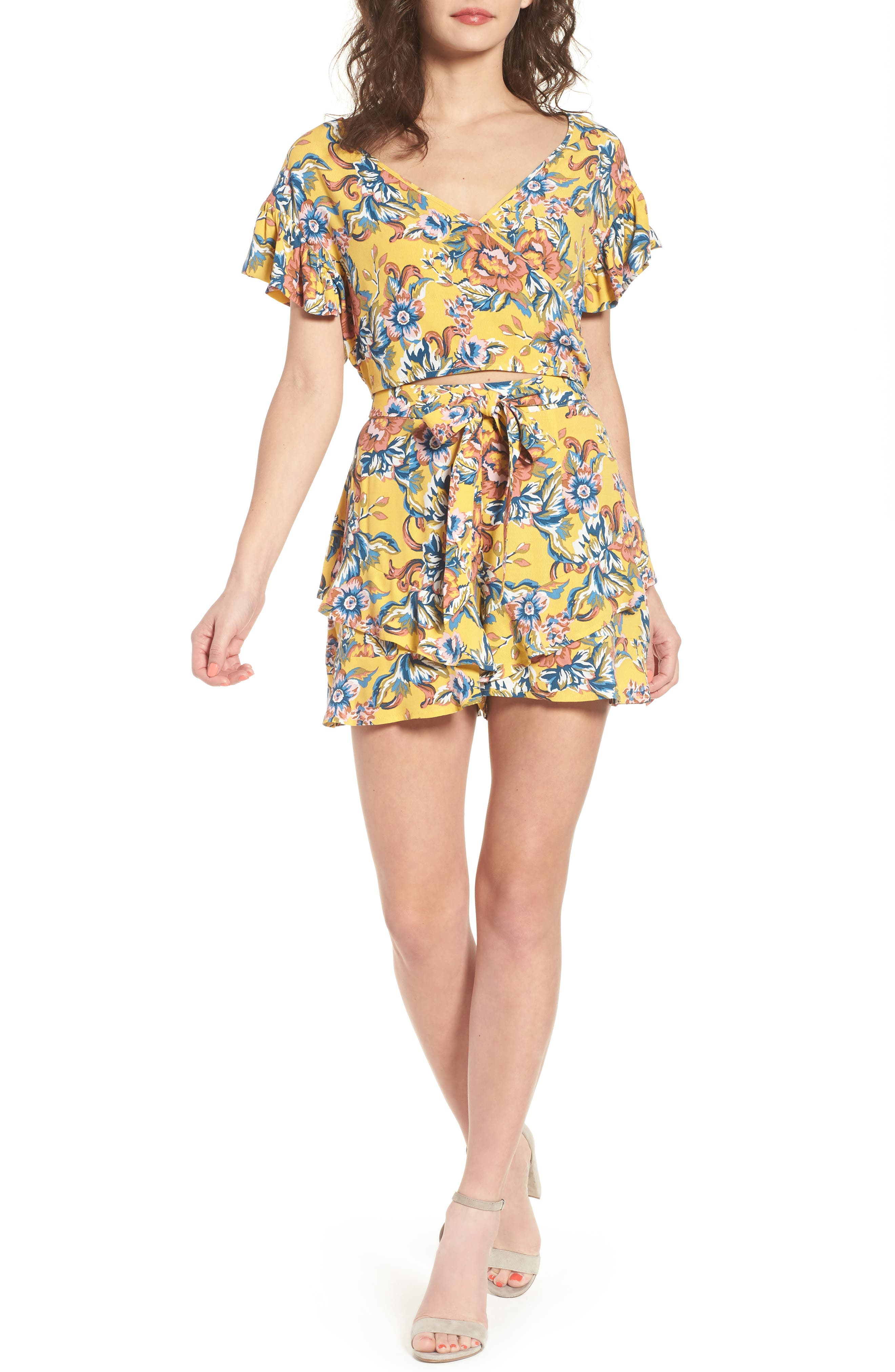 Print Ruffle Shorts,                             Alternate thumbnail 2, color,                             Yellow Ochre Tapestry Floral
