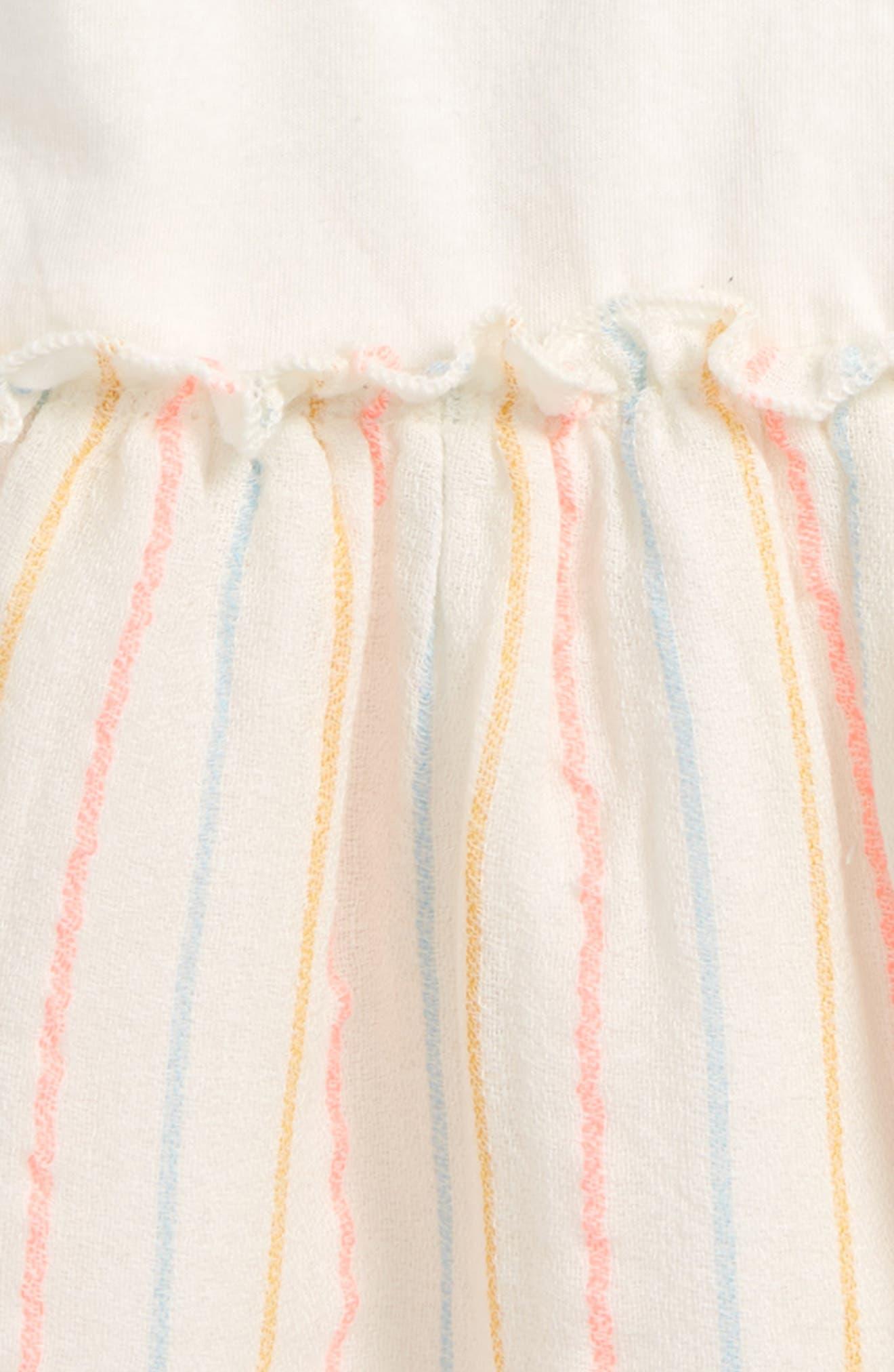 Flutter Sleeve Dress,                             Alternate thumbnail 2, color,                             Ivory Egret Multi Stripe