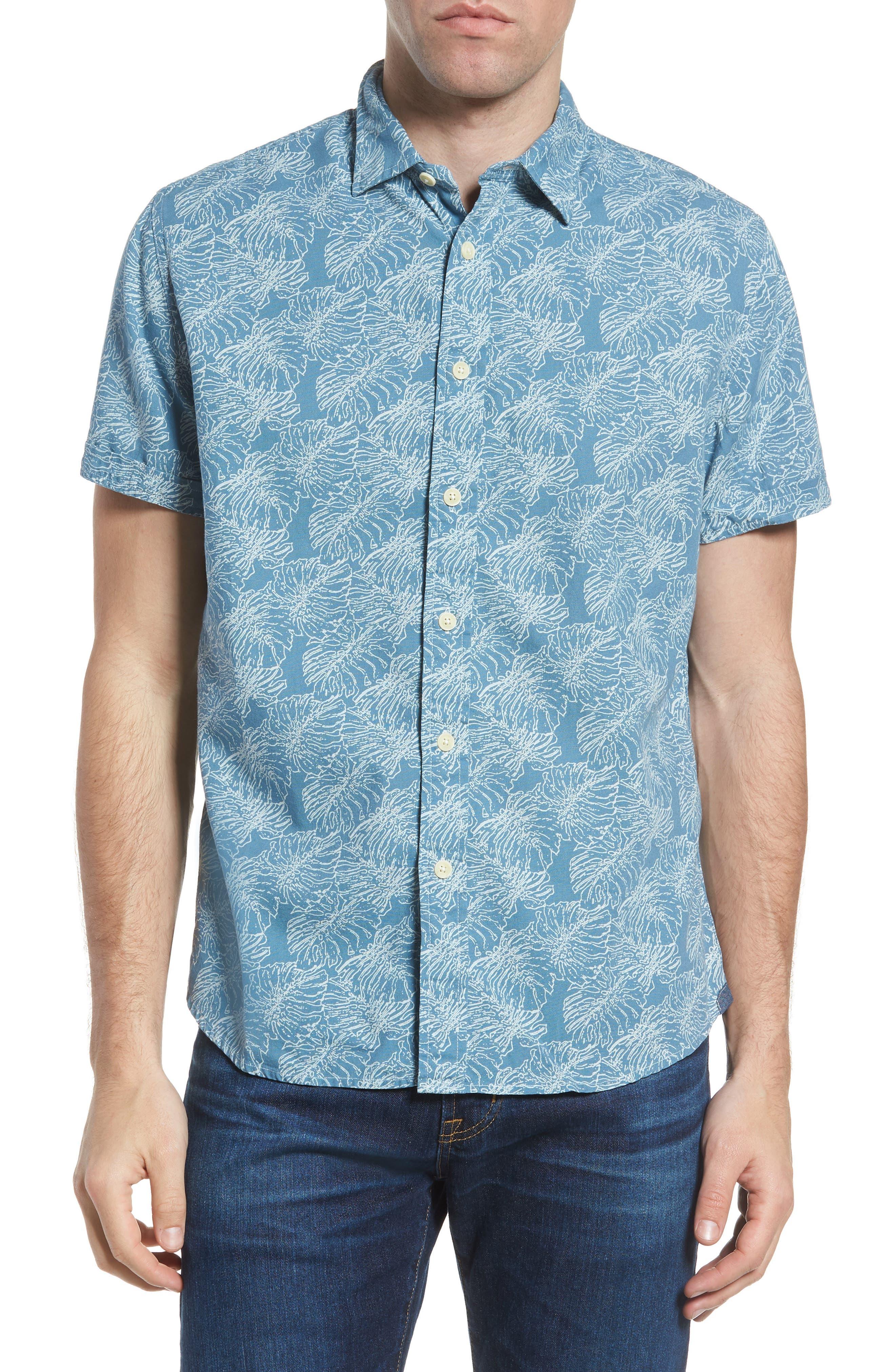 Leaf Print Short Sleeve Sport Shirt,                         Main,                         color, Moonnight Blue