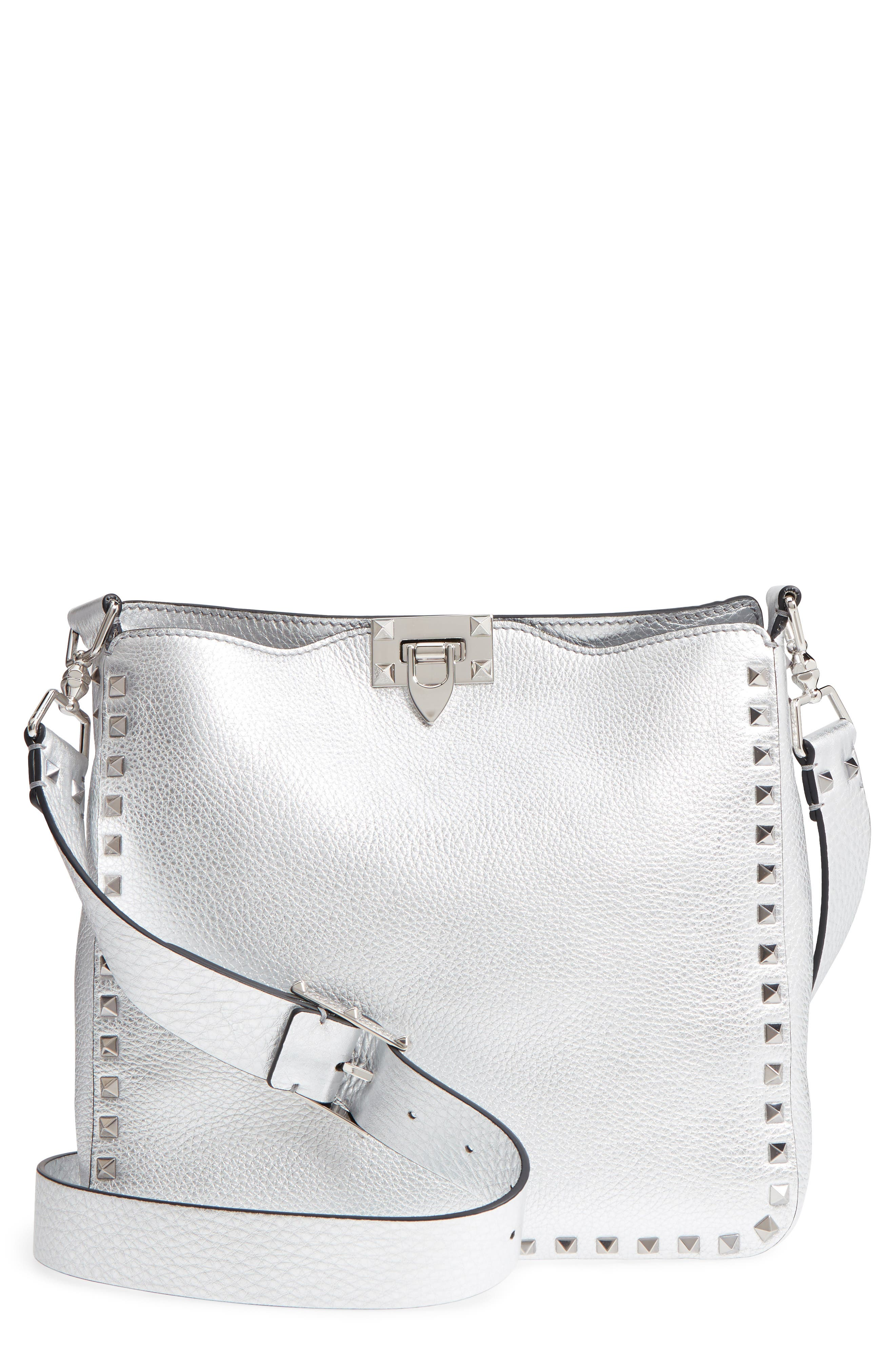 VALENTINO GARAVANI Small Rockstud Metallic Leather Hobo