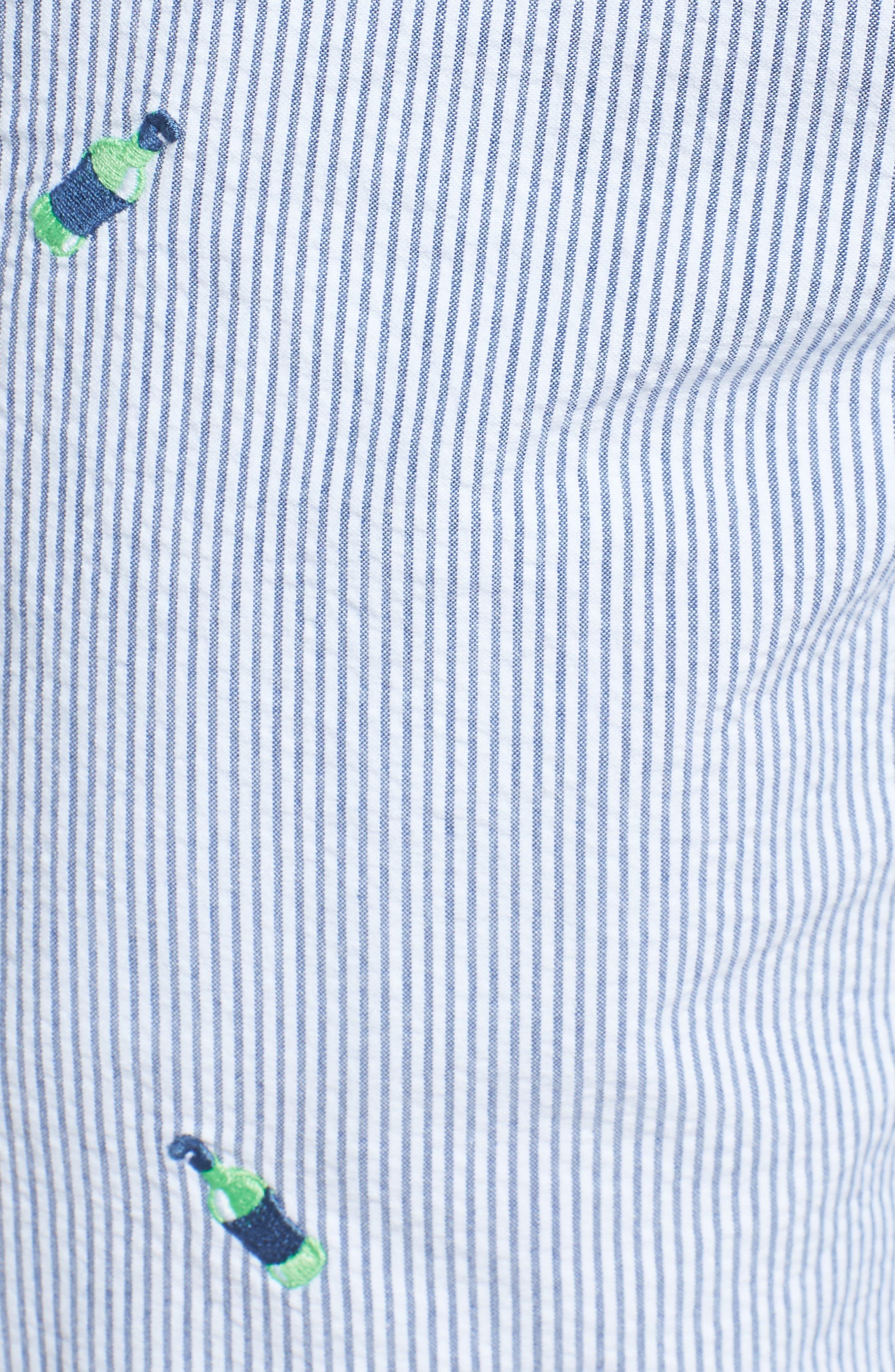 Embroidered Seersucker Shorts,                             Alternate thumbnail 5, color,                             Seven Seas Blue