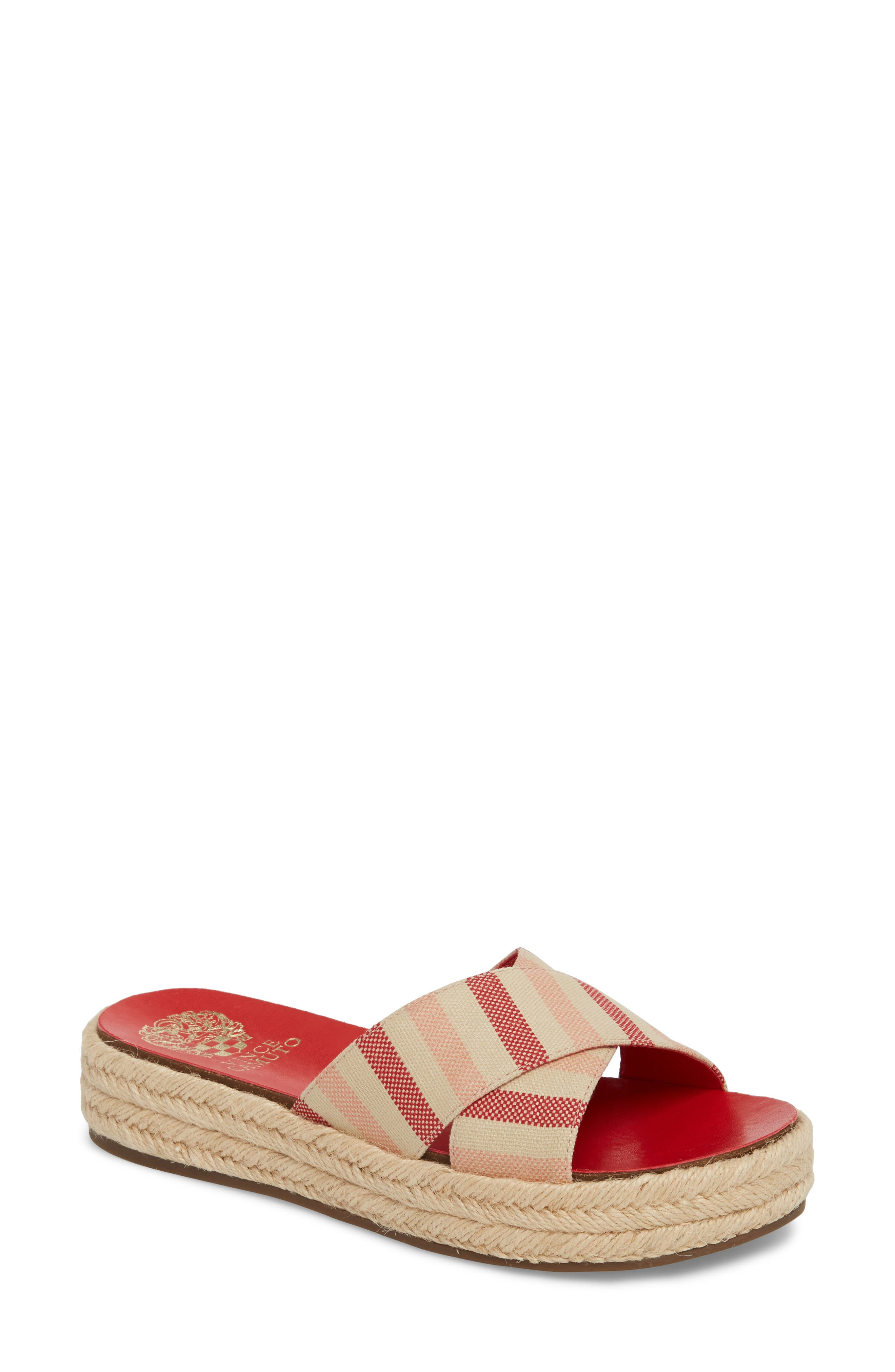 Carran Platform Sandal,                         Main,                         color, Red Hot Rio Stripe Canvas