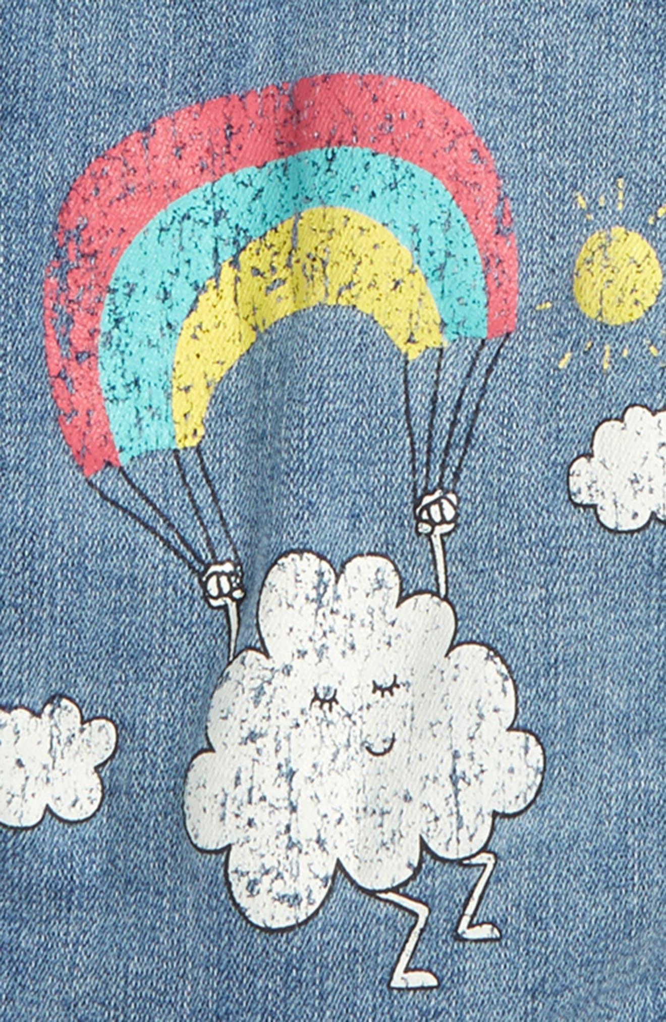 Embellished Hooded Denim Jacket,                             Alternate thumbnail 3, color,                             Bleached Out Wash