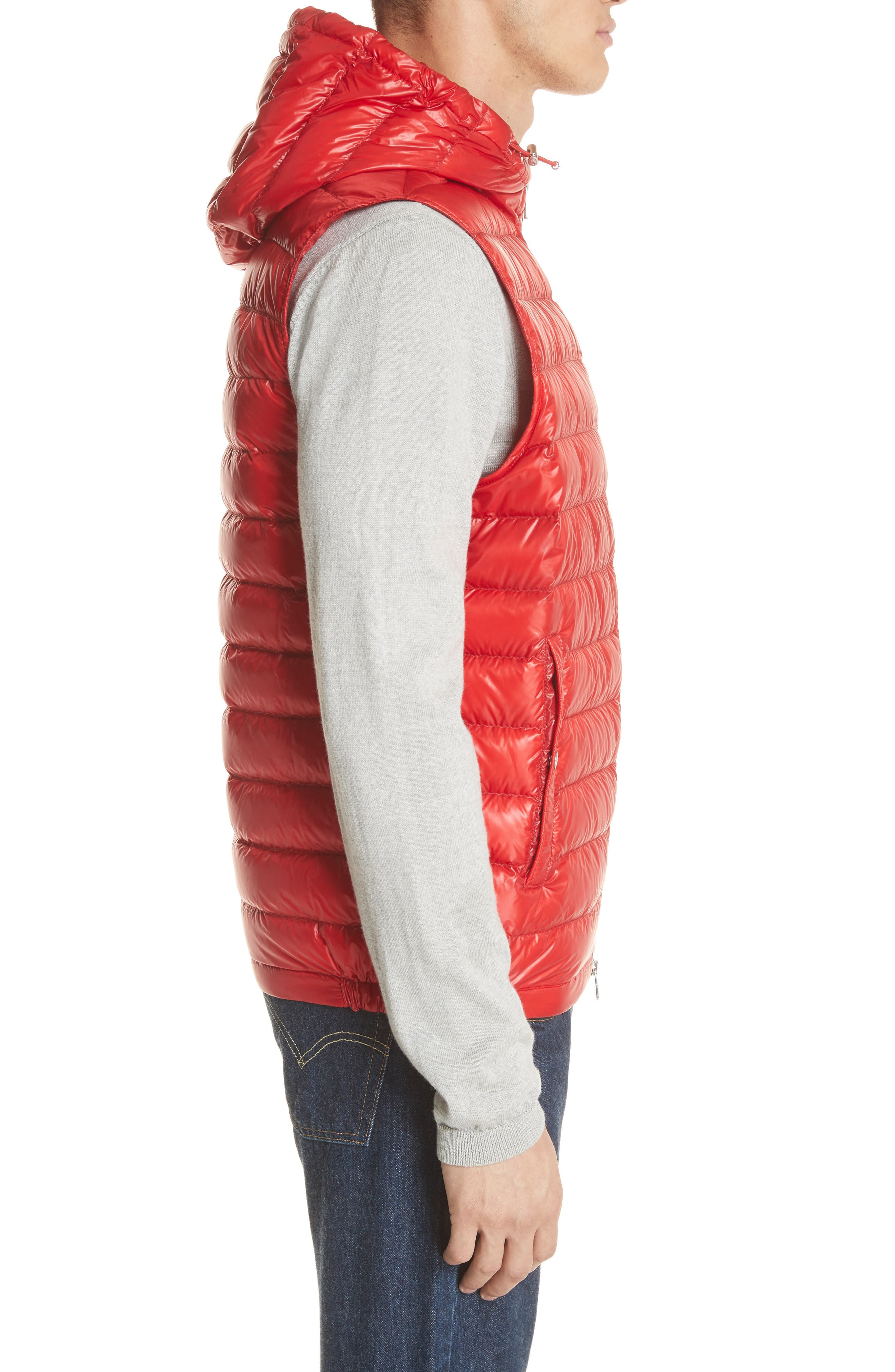 Gien Down Hooded Vest,                             Alternate thumbnail 3, color,                             Dark Red