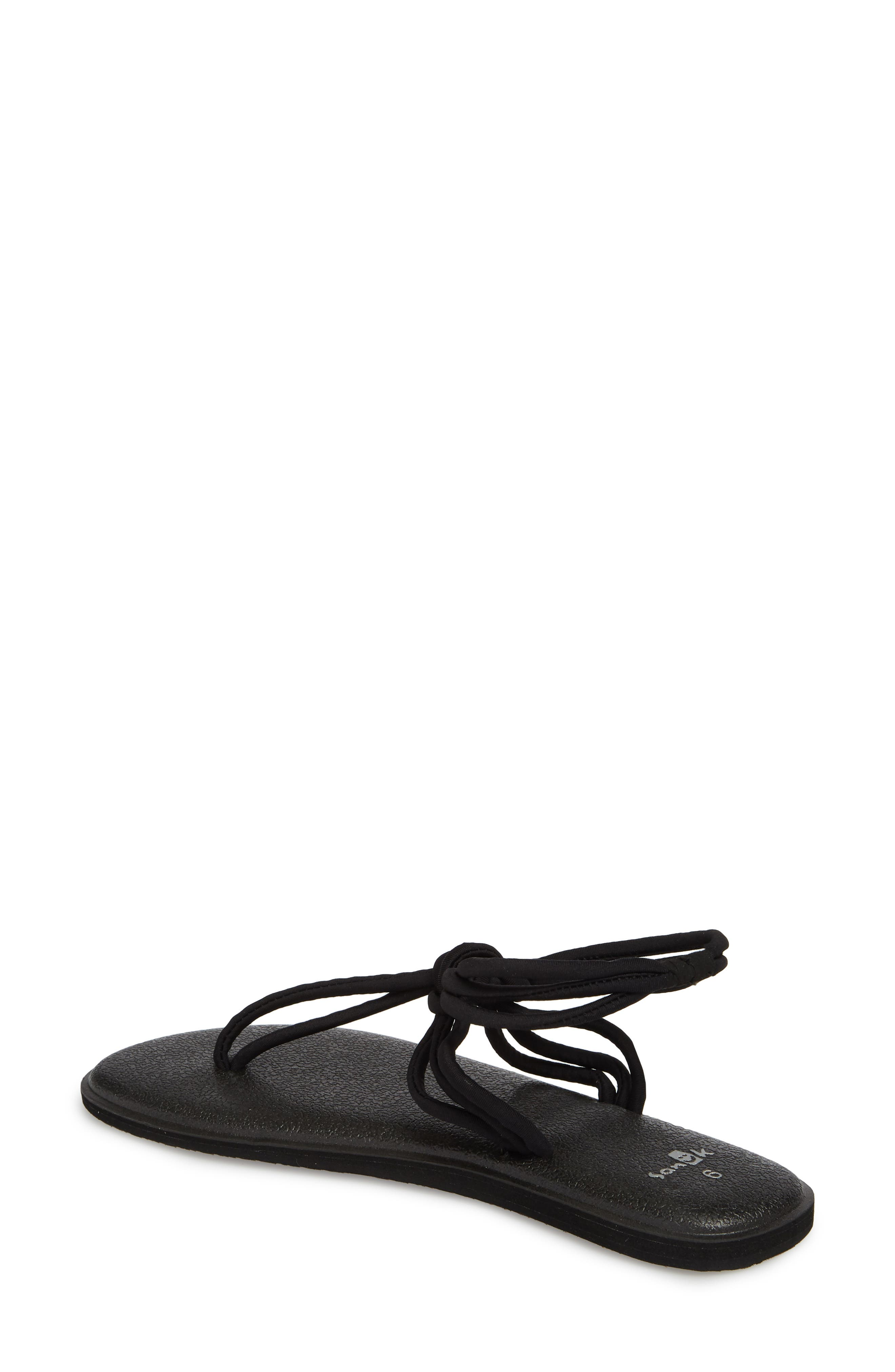 Yoga Sunshine Knotted Thong Sandal,                             Alternate thumbnail 2, color,                             Black