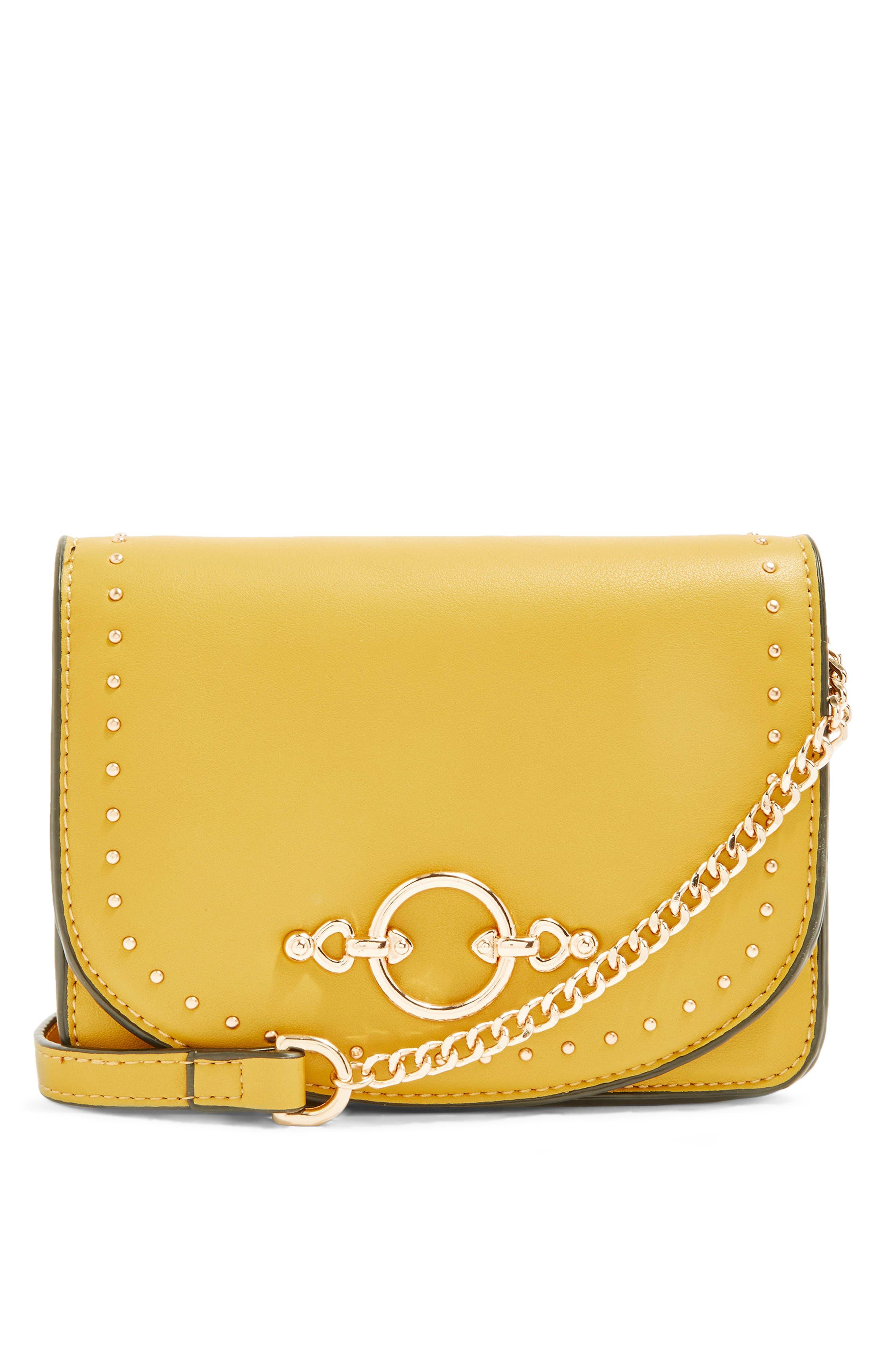 Osen Stud Circle Crossbody Bag,                             Main thumbnail 1, color,                             Yellow