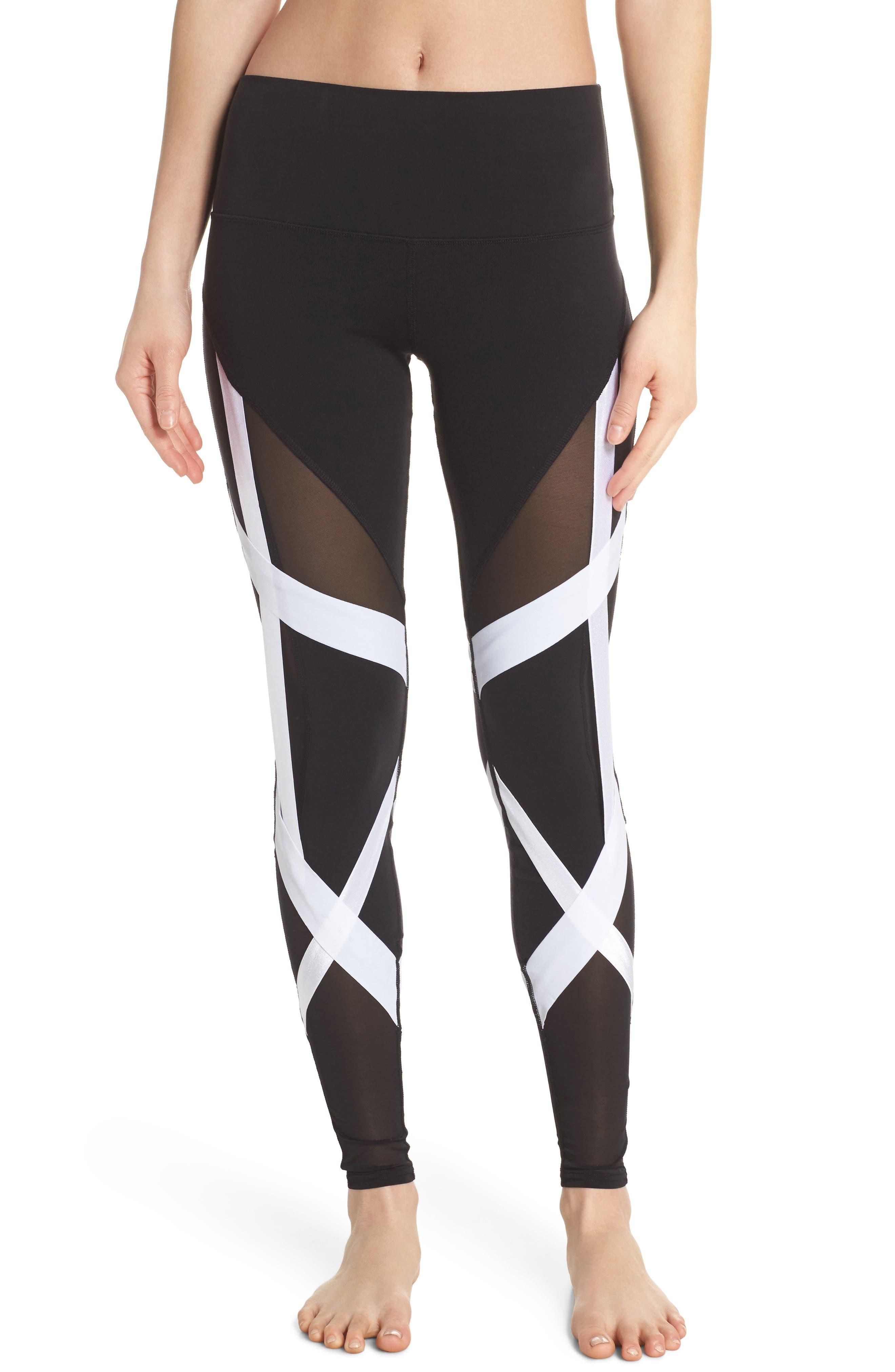 Tribe High Waist Leggings,                         Main,                         color, Black/ White