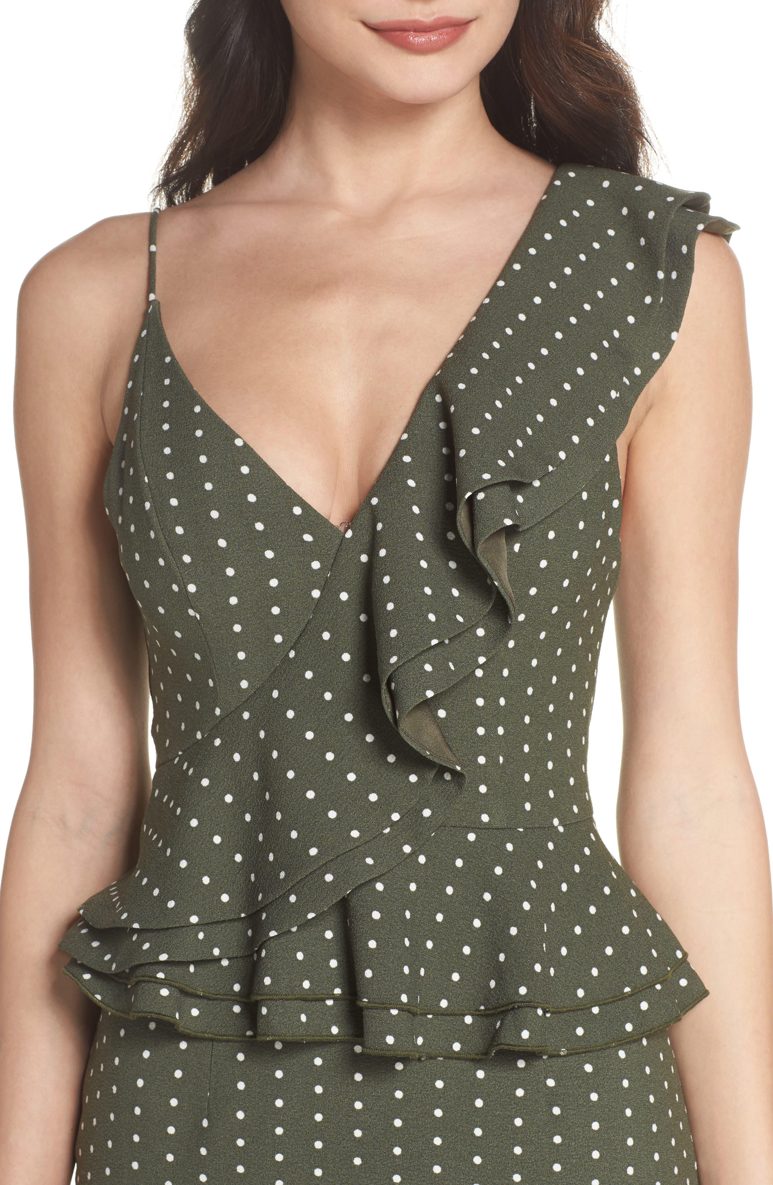 Entice Dot Ruffle Trim Dress,                             Alternate thumbnail 4, color,                             Khaki W Ivory Spot