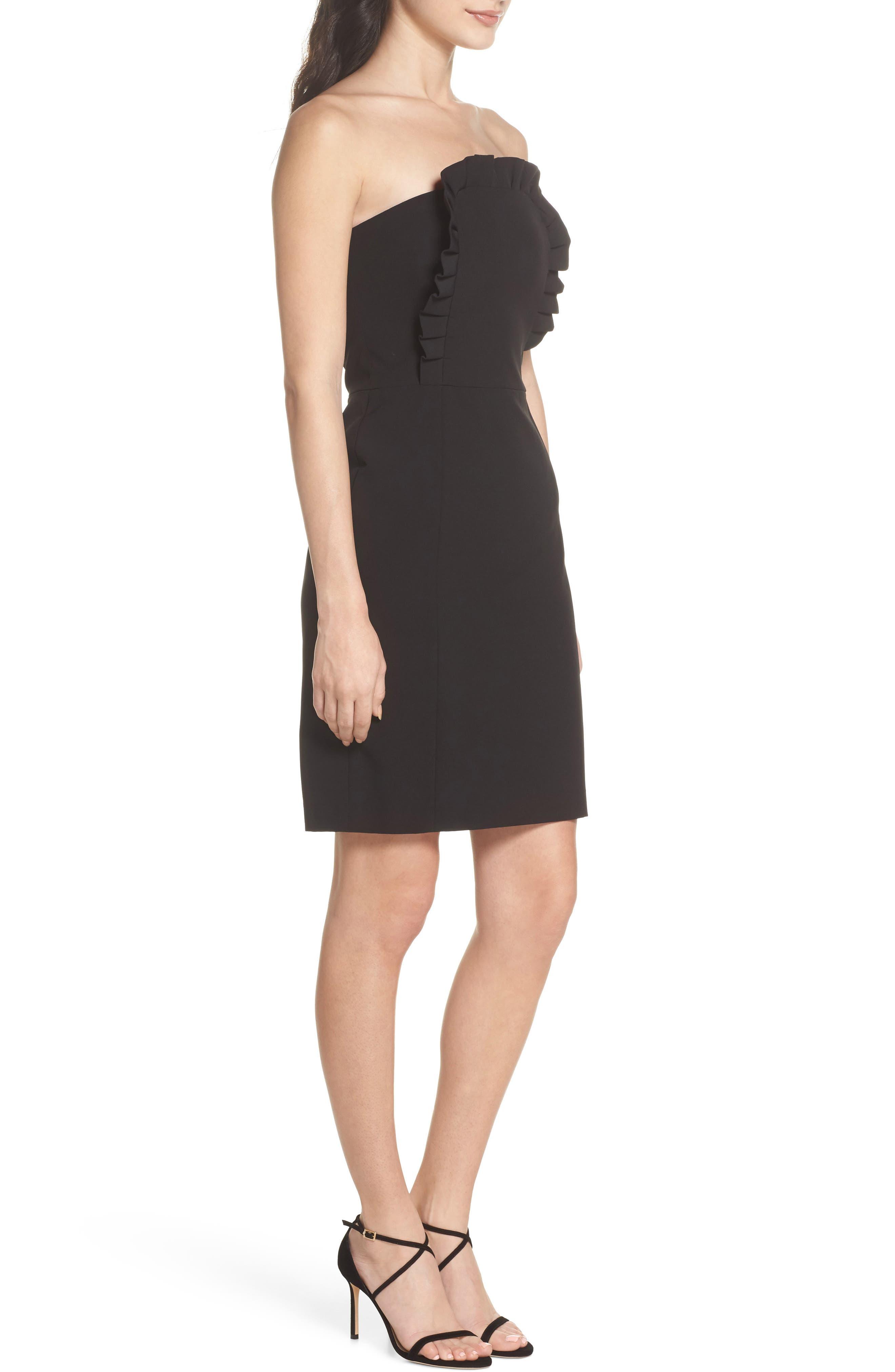 Ruffle Apron Detail Strapless Dress,                             Alternate thumbnail 3, color,                             Black