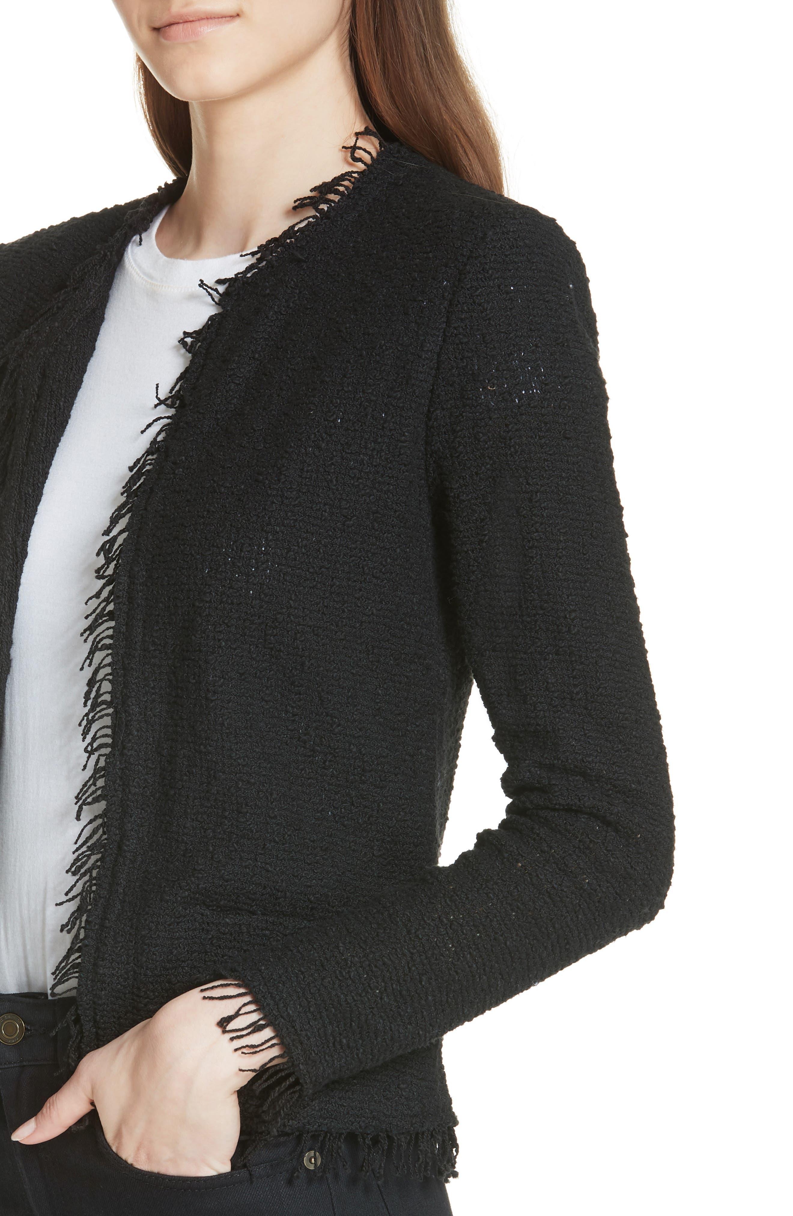 Shavani Tweed Jacket,                             Alternate thumbnail 4, color,                             Black