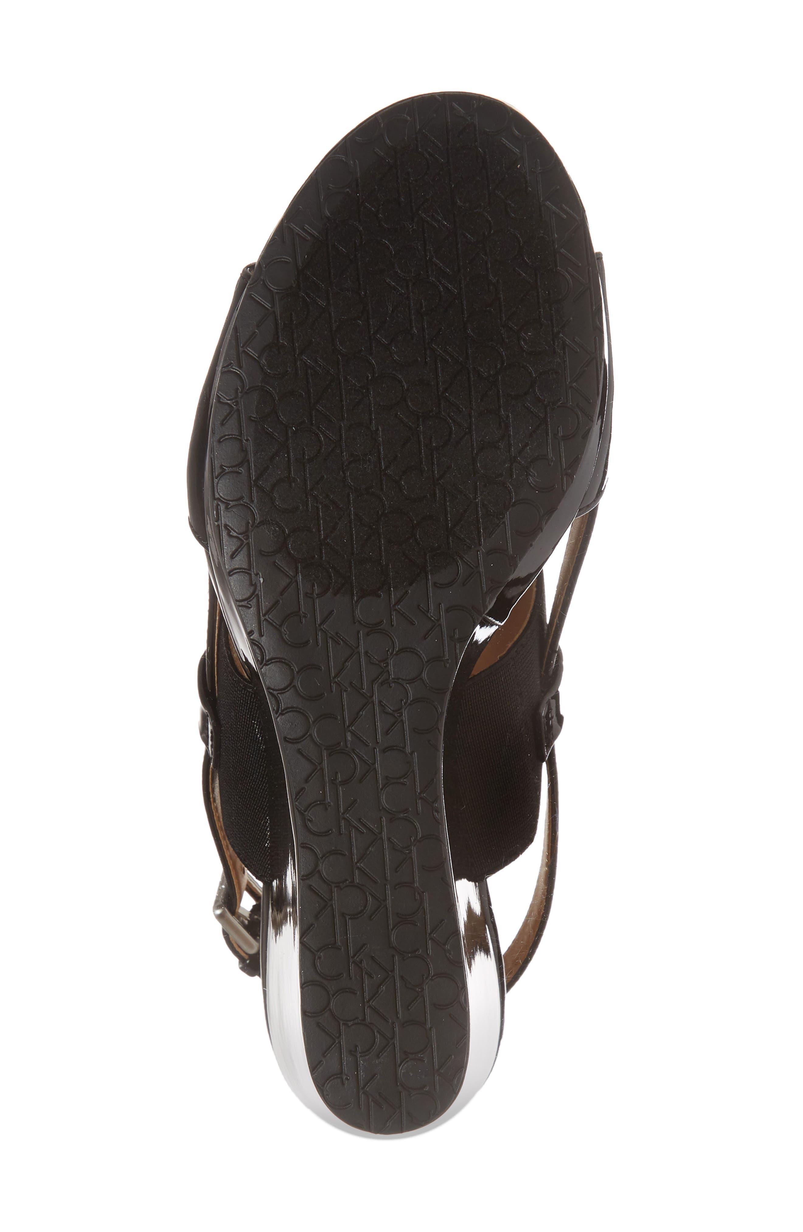 Bethan Wedge Sandal,                             Alternate thumbnail 6, color,                             Black Patent