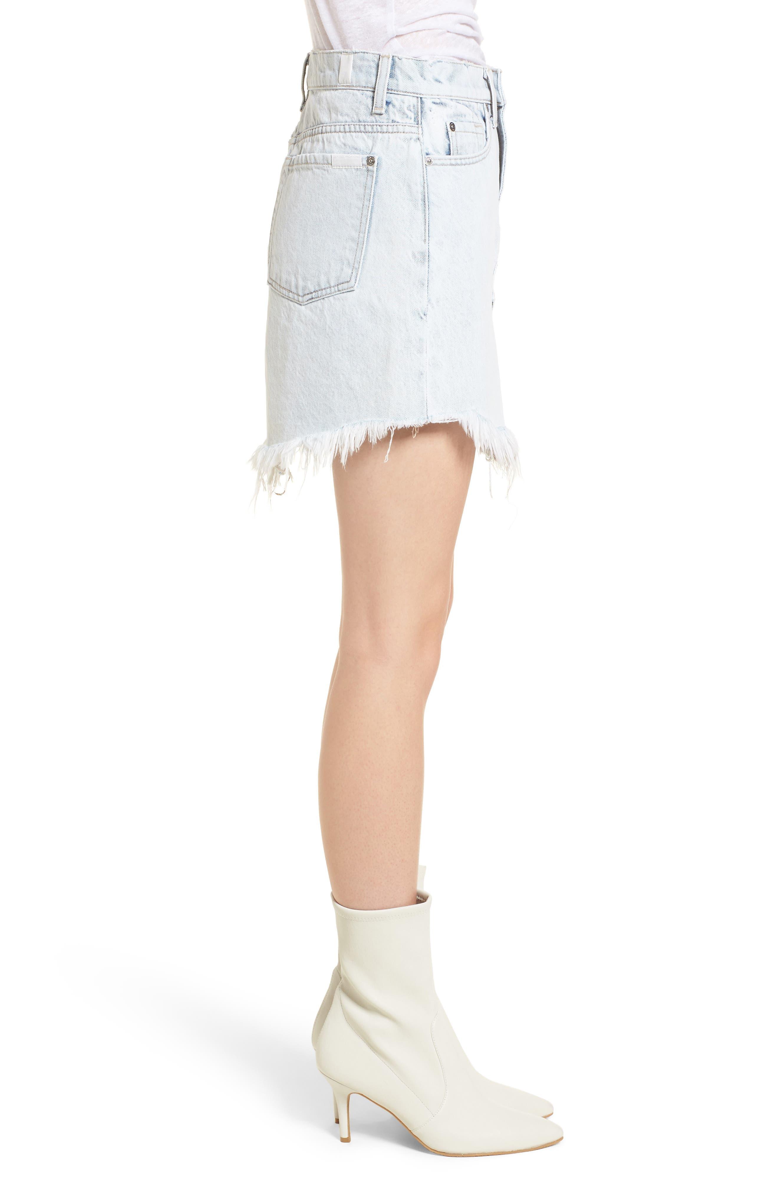 Scallop Fray Hem Denim Skirt,                             Alternate thumbnail 3, color,                             Desert Sun Bleached