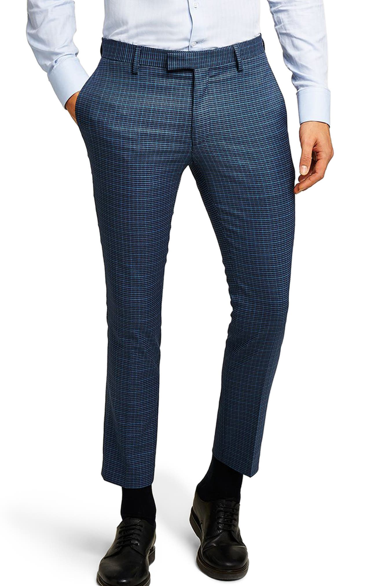 Check Skinny Fit Suit Trousers,                             Main thumbnail 1, color,                             Mid Blue Multi