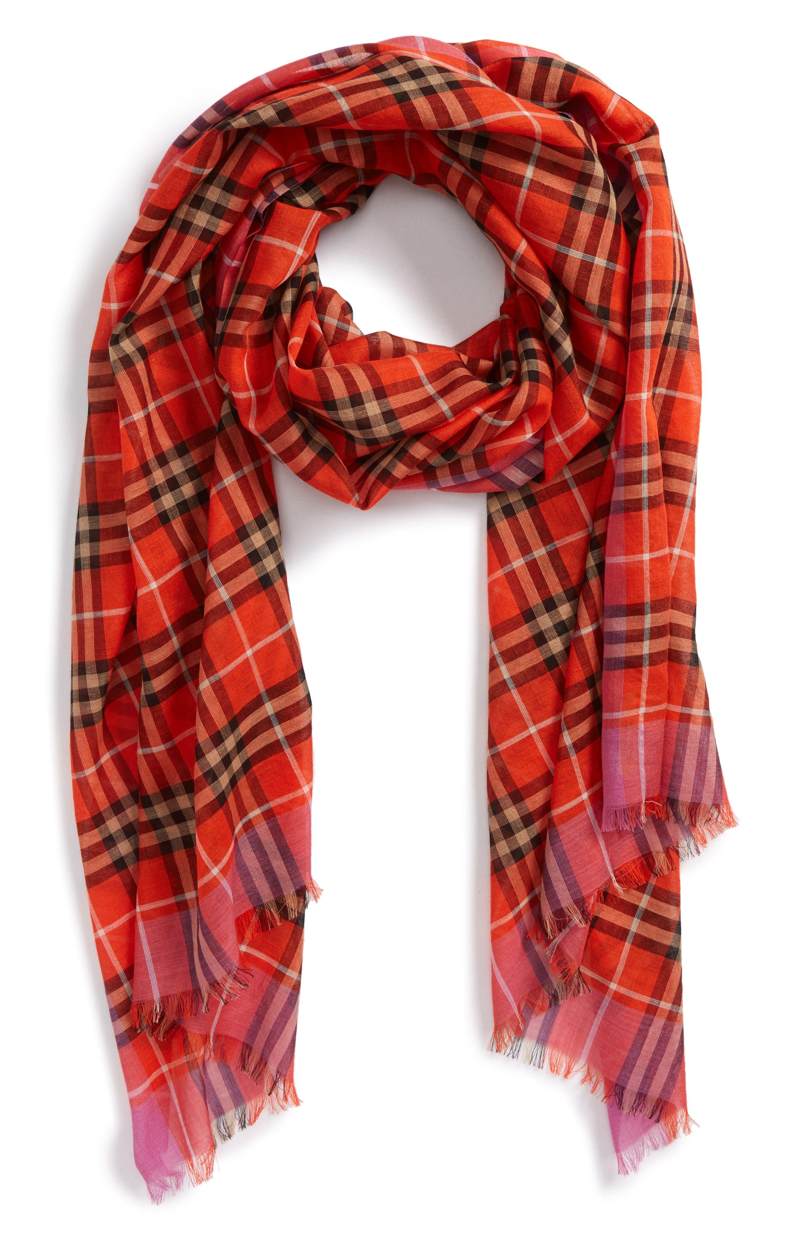 Border Vintage Check Wool & Silk Scarf,                         Main,                         color, Orange Red
