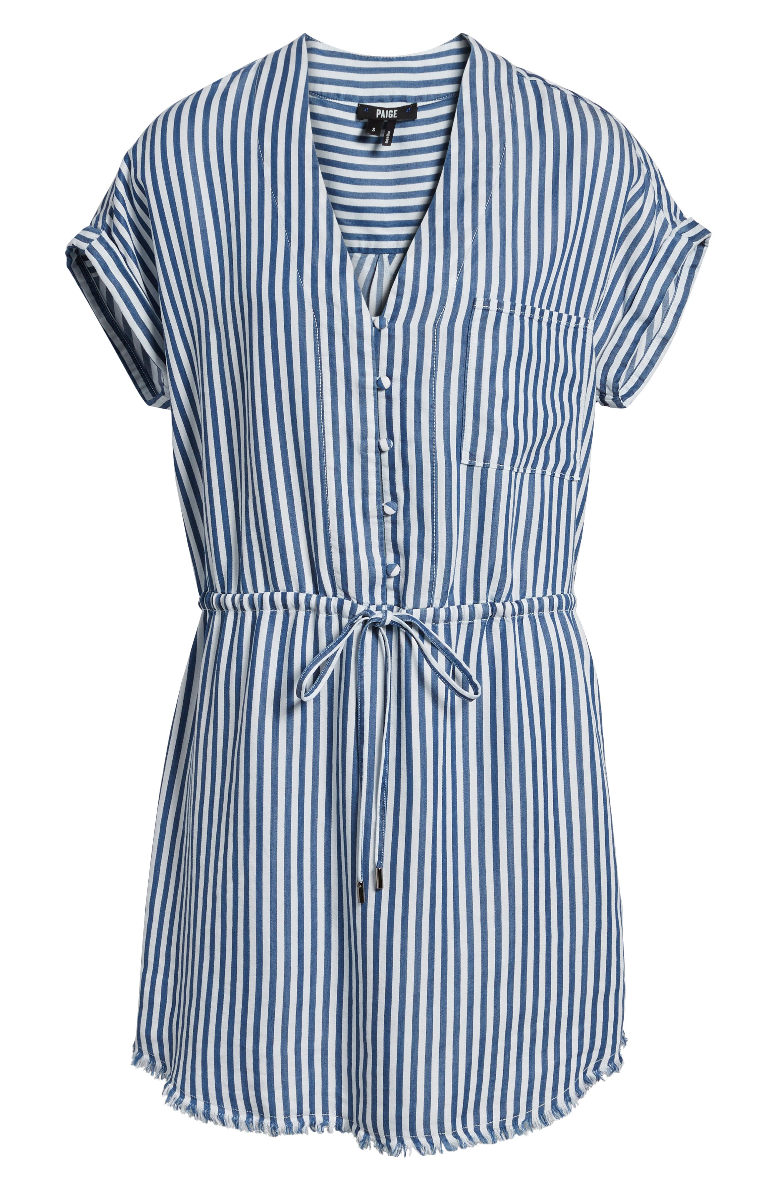 Haidee Stripe Shift Dress,                             Alternate thumbnail 6, color,                             White/ Blue Bell Stripe