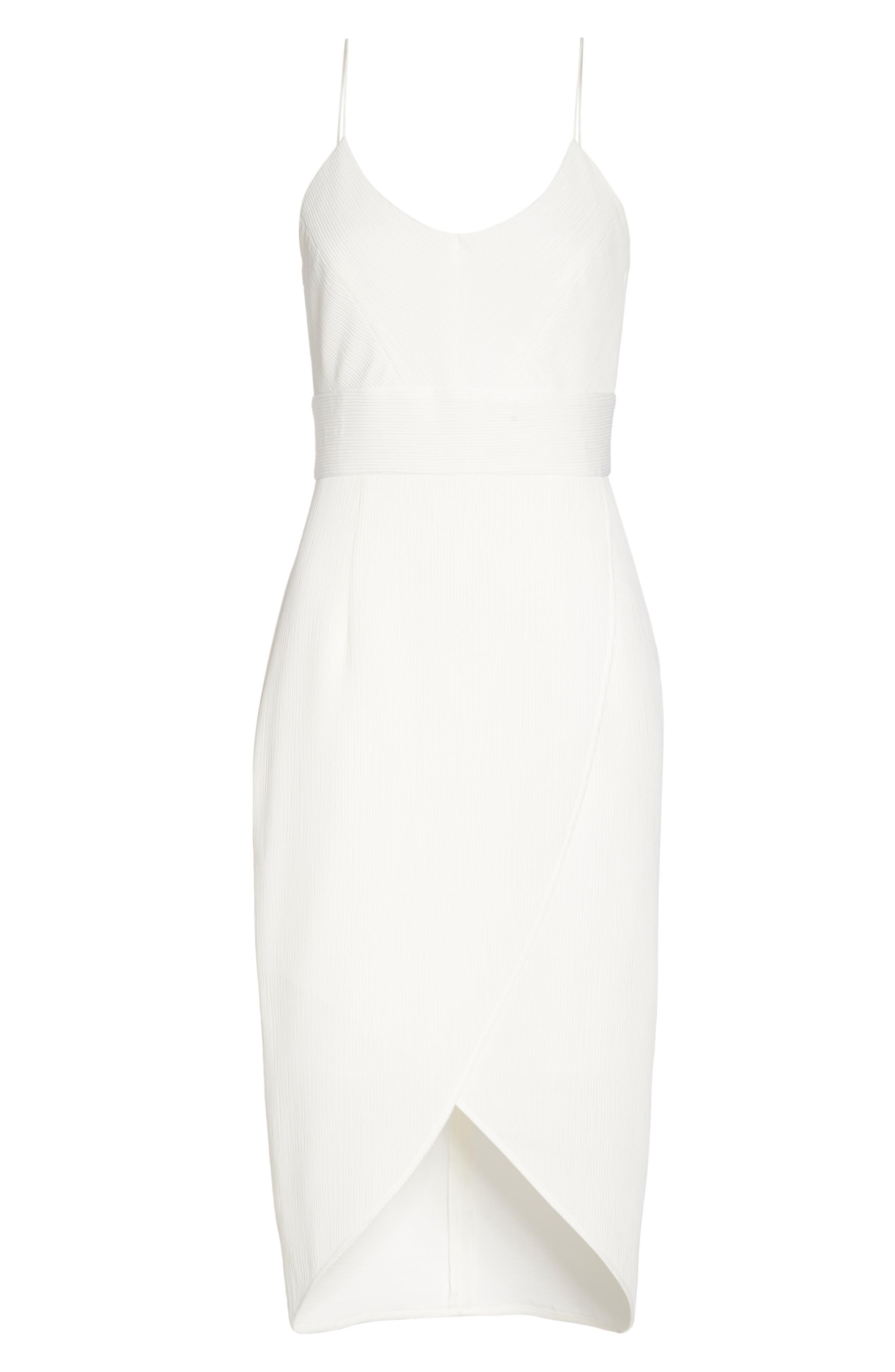Micro Pleat Tulip Hem Dress,                             Alternate thumbnail 7, color,                             White Snow
