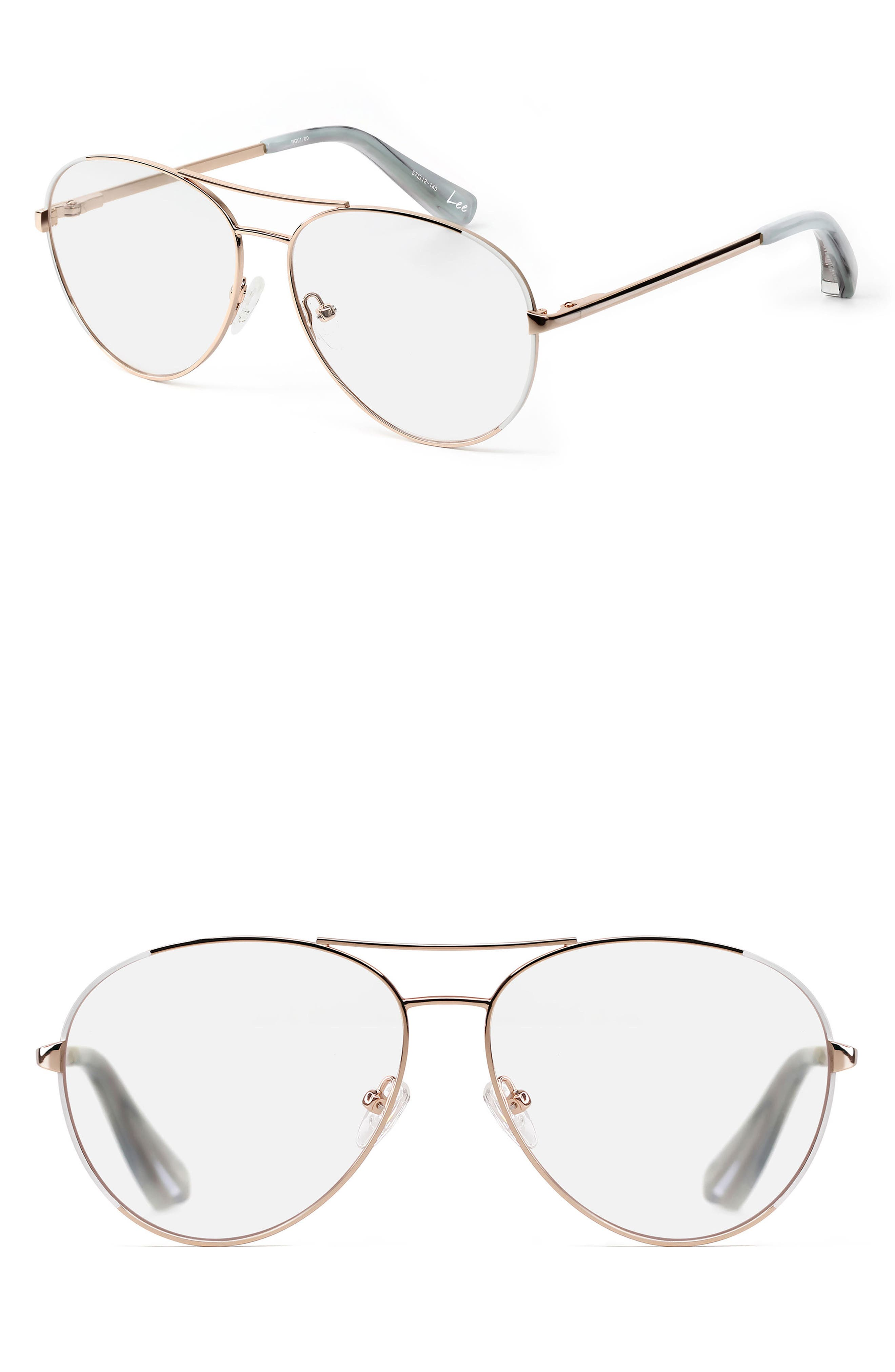 Lee 57mm Aviator Optical Glasses,                             Main thumbnail 1, color,                             Rose Gold