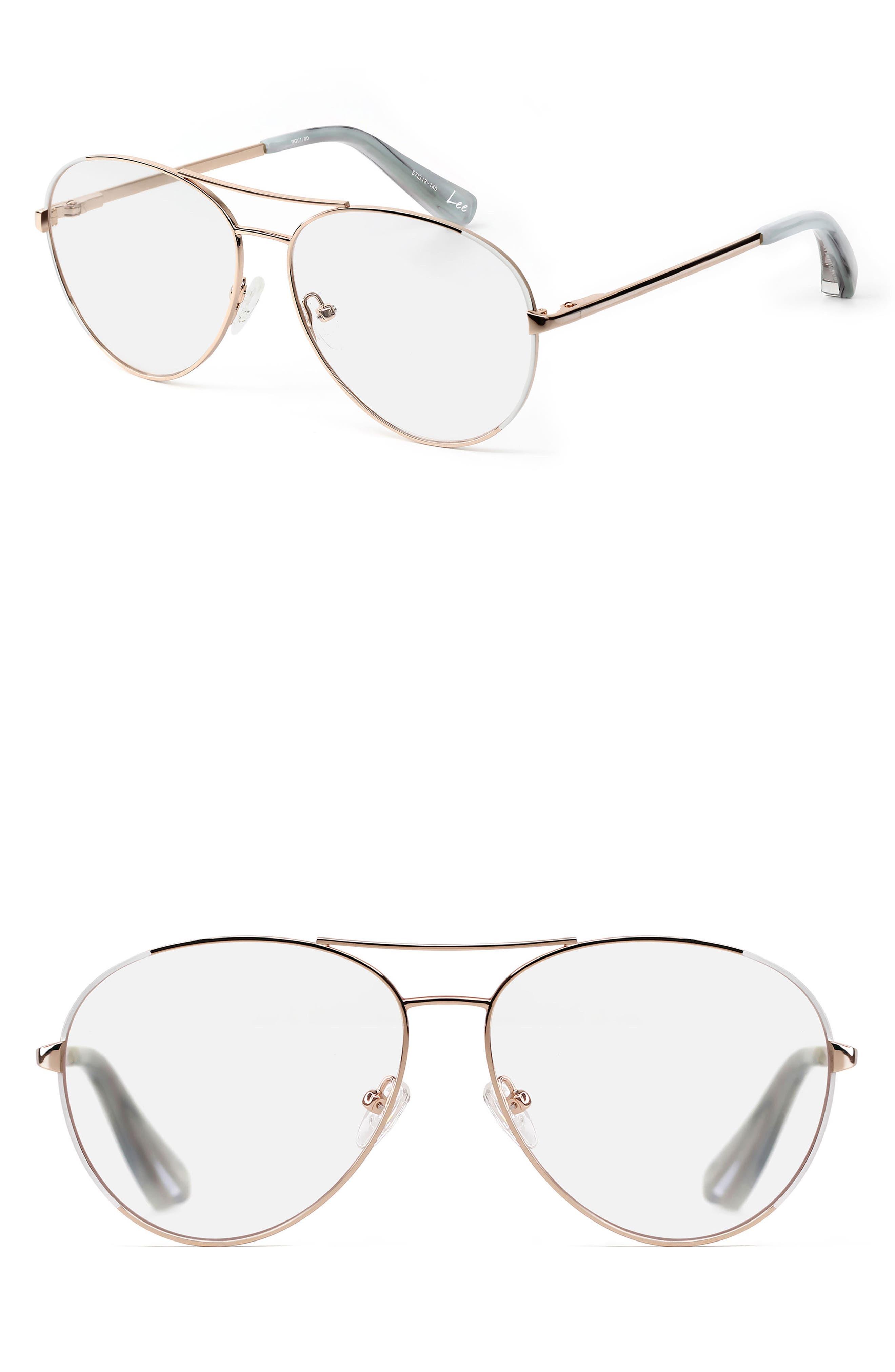 Lee 57mm Aviator Optical Glasses,                         Main,                         color, Rose Gold