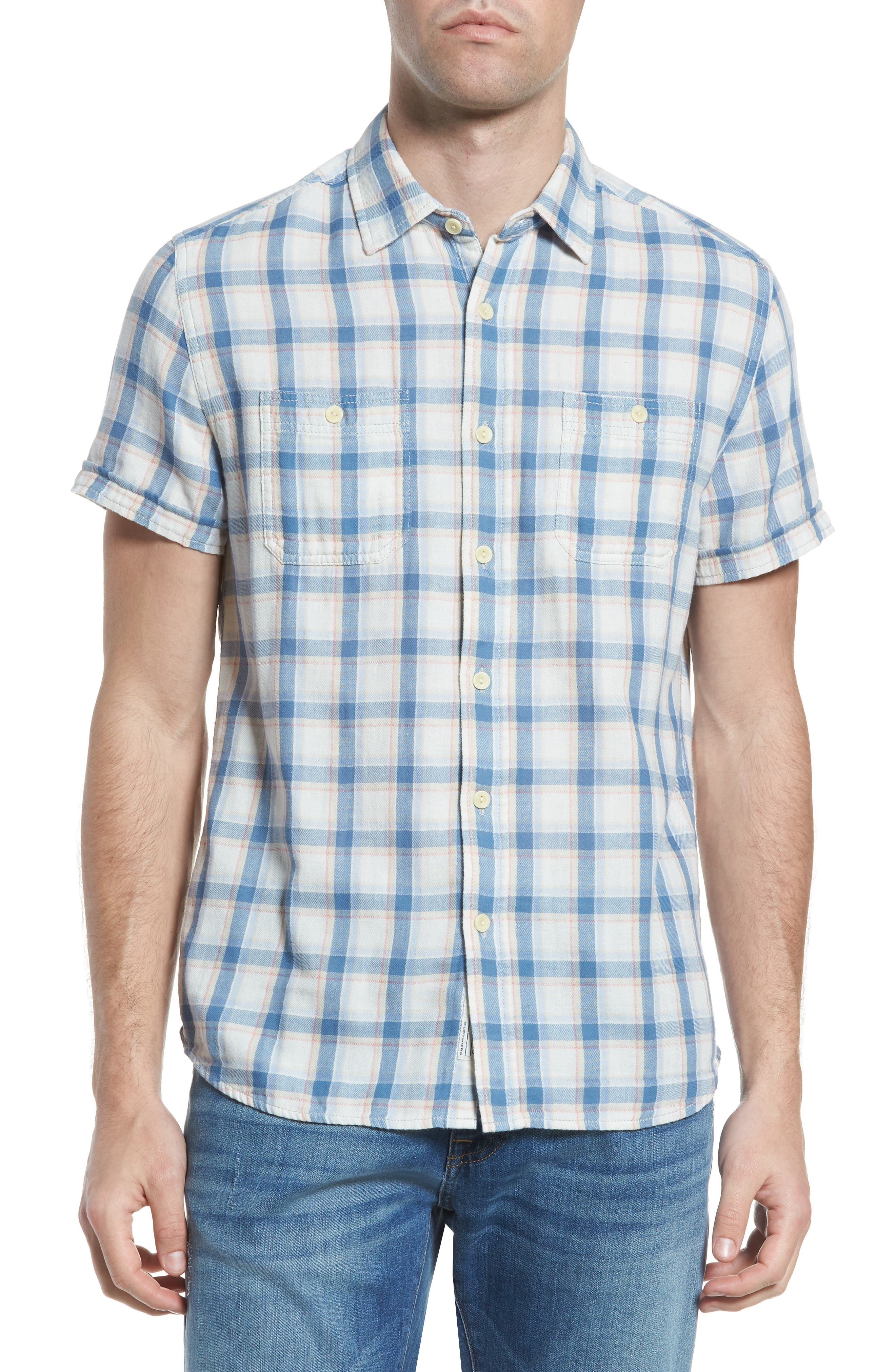 Larson Short Sleeve Sport Shirt,                         Main,                         color, Cream Blue Plaid