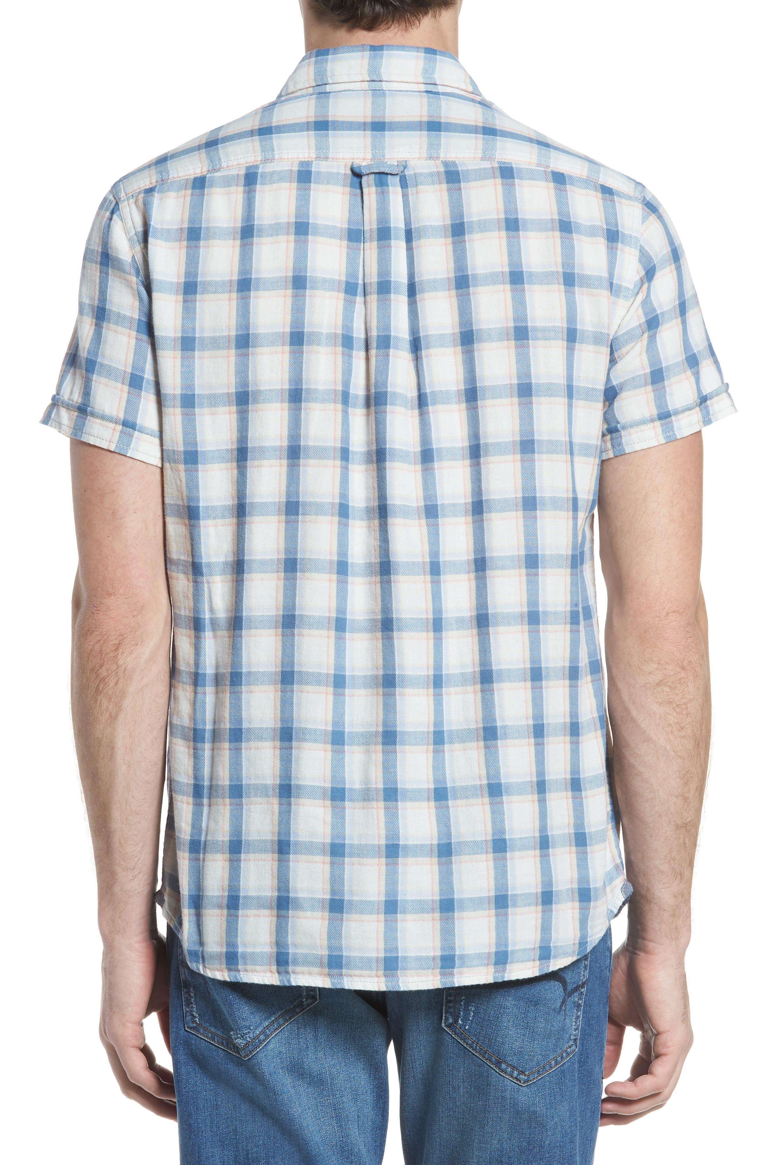 Larson Short Sleeve Sport Shirt,                             Alternate thumbnail 3, color,                             Cream Blue Plaid