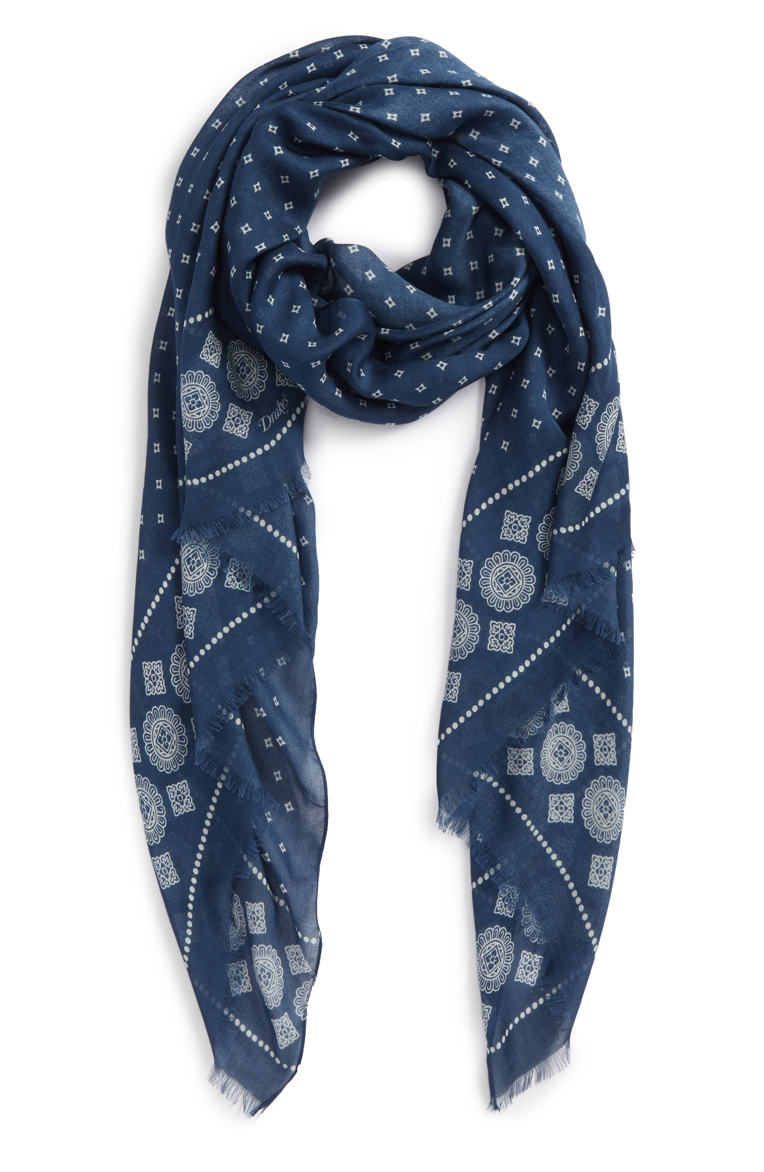 Block Print Scarf,                         Main,                         color, Blue