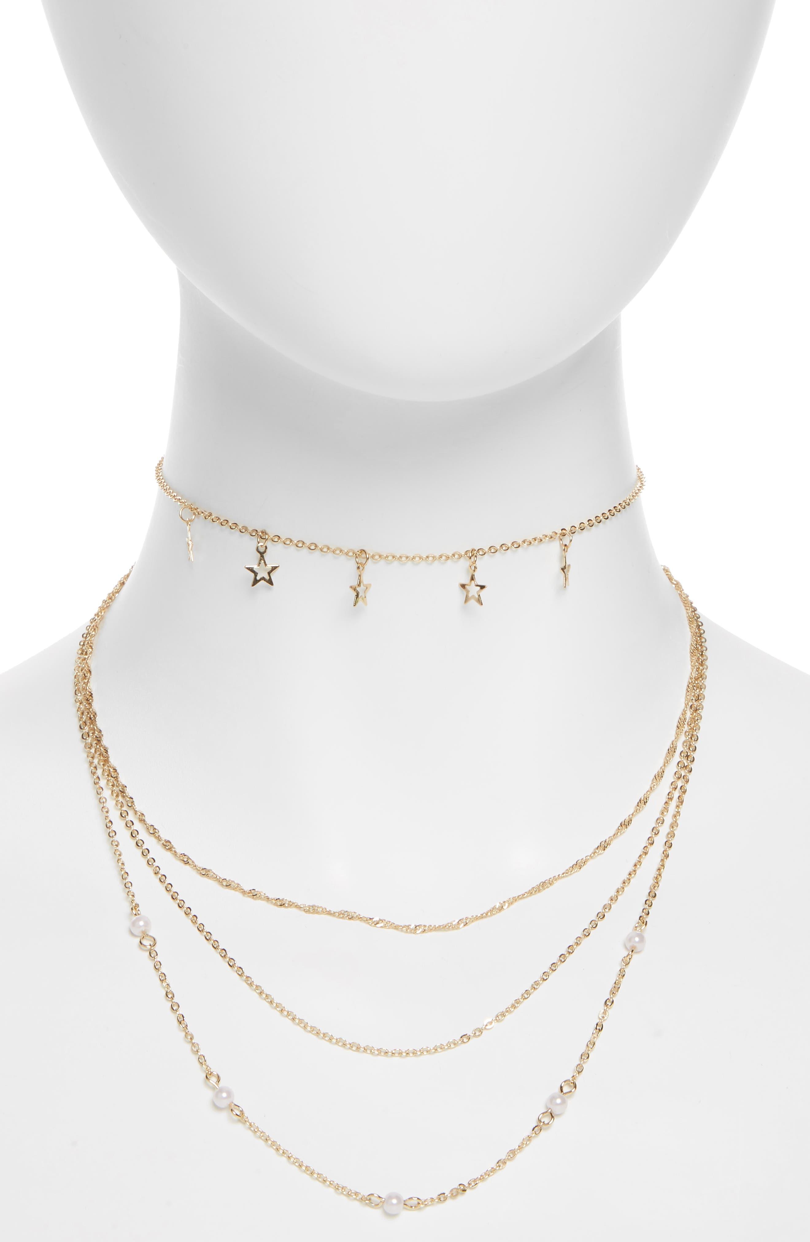 Star & Imitation Pearl Multi Row Necklace,                             Main thumbnail 1, color,                             Gold