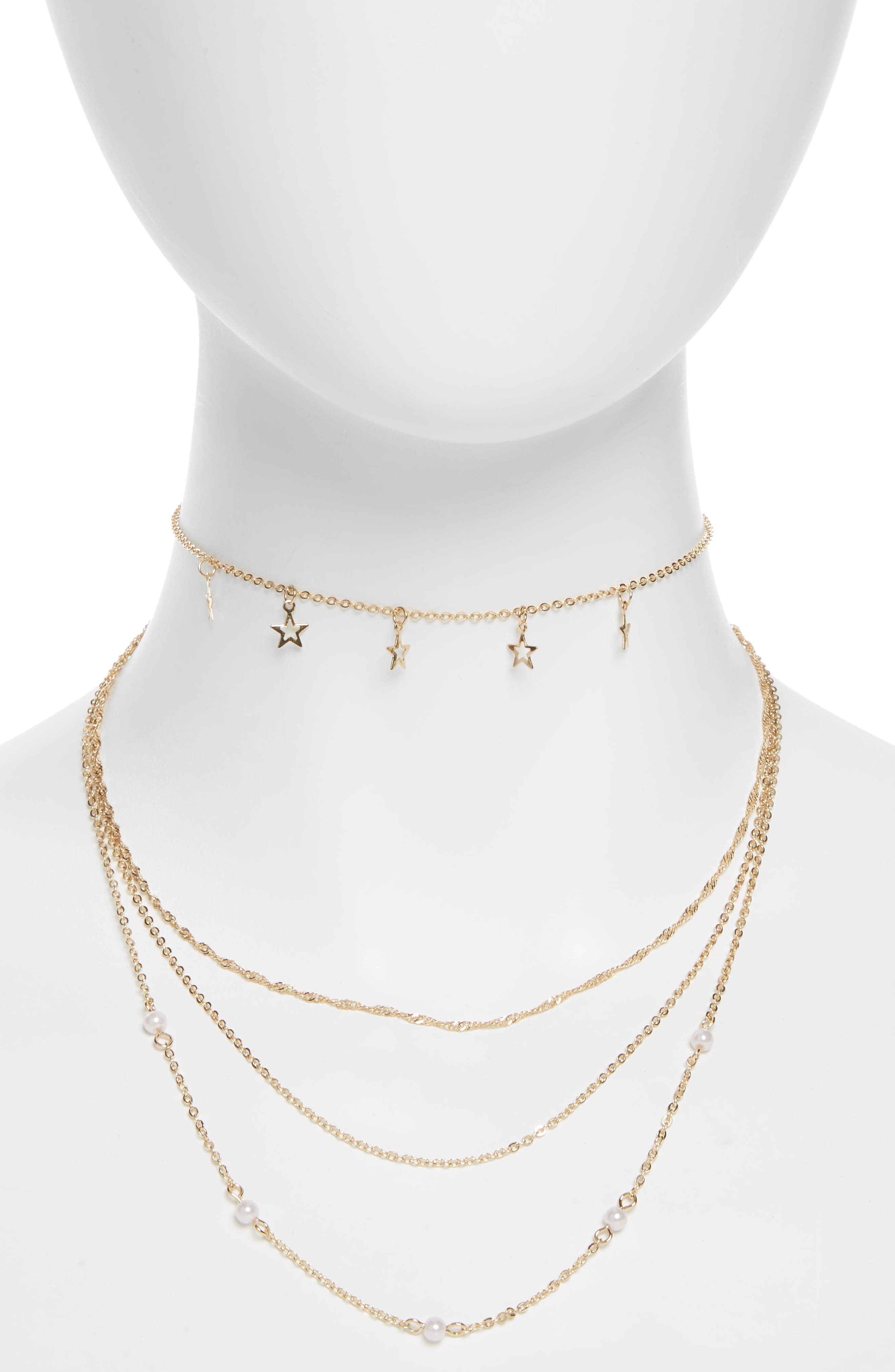 Star & Imitation Pearl Multi Row Necklace,                         Main,                         color, Gold