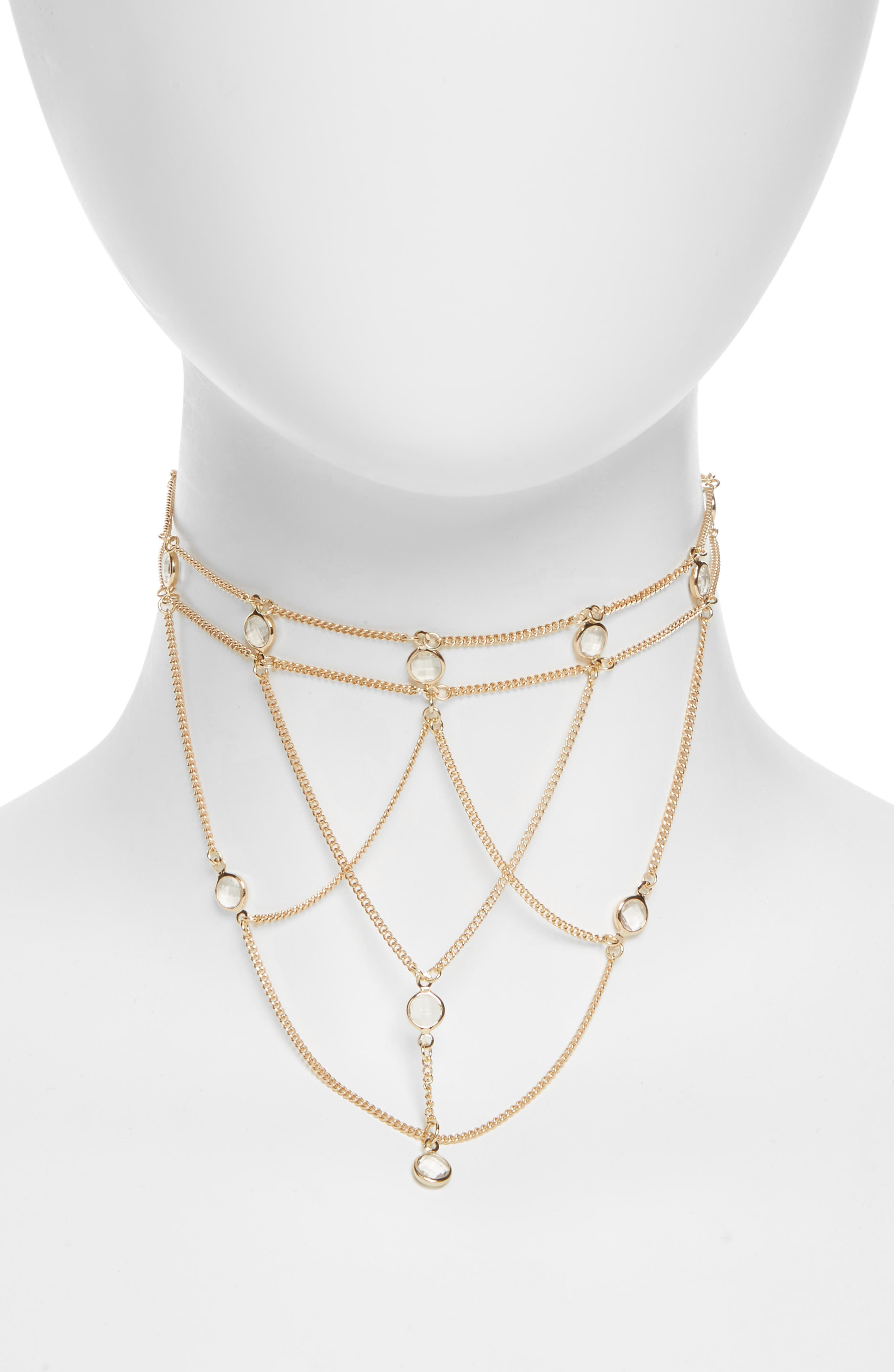 Cage Choker Necklace,                         Main,                         color, Gold