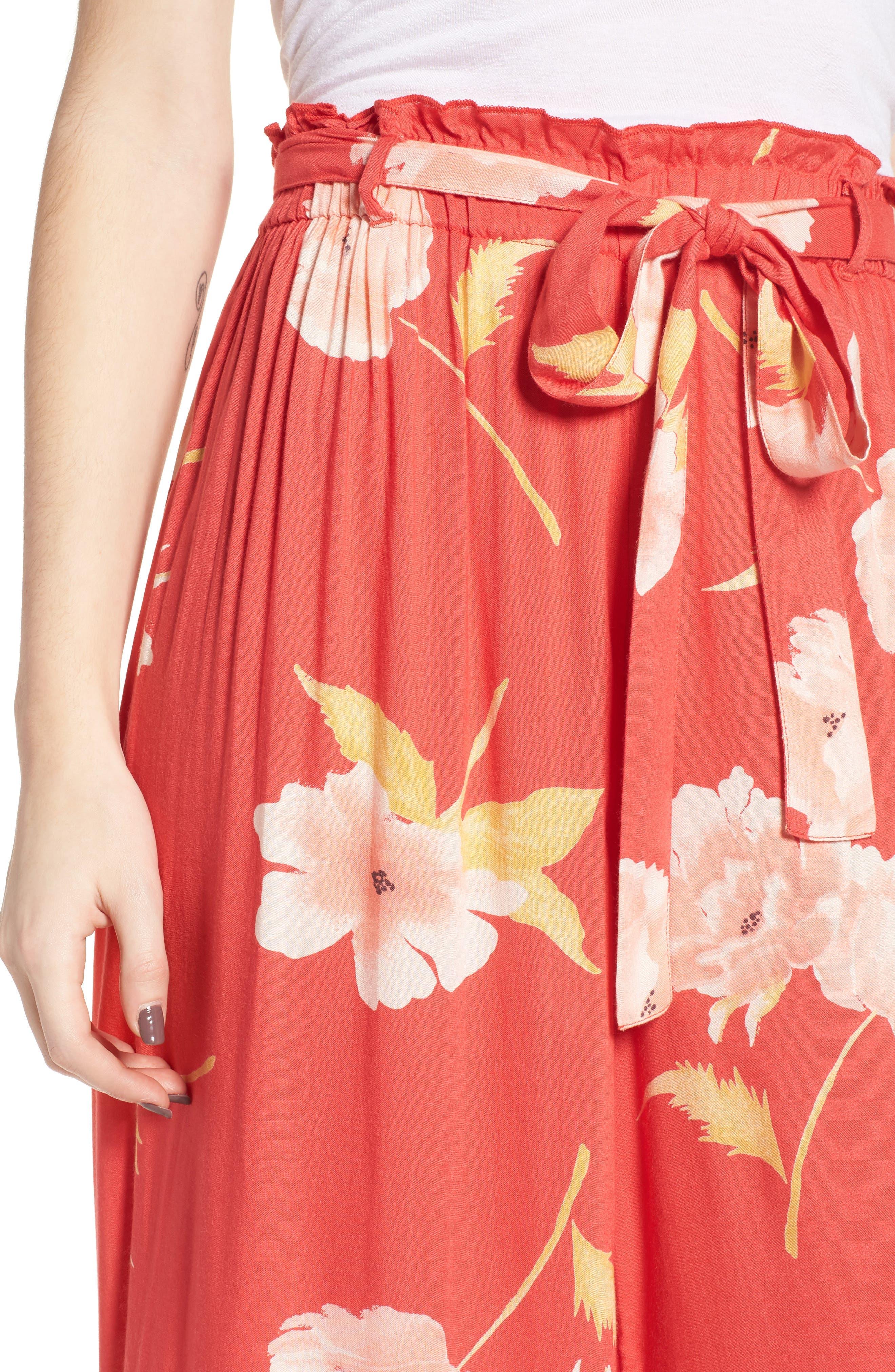 Happy Dance Floral Wide Leg Pants,                             Alternate thumbnail 4, color,                             Ger-Geranium