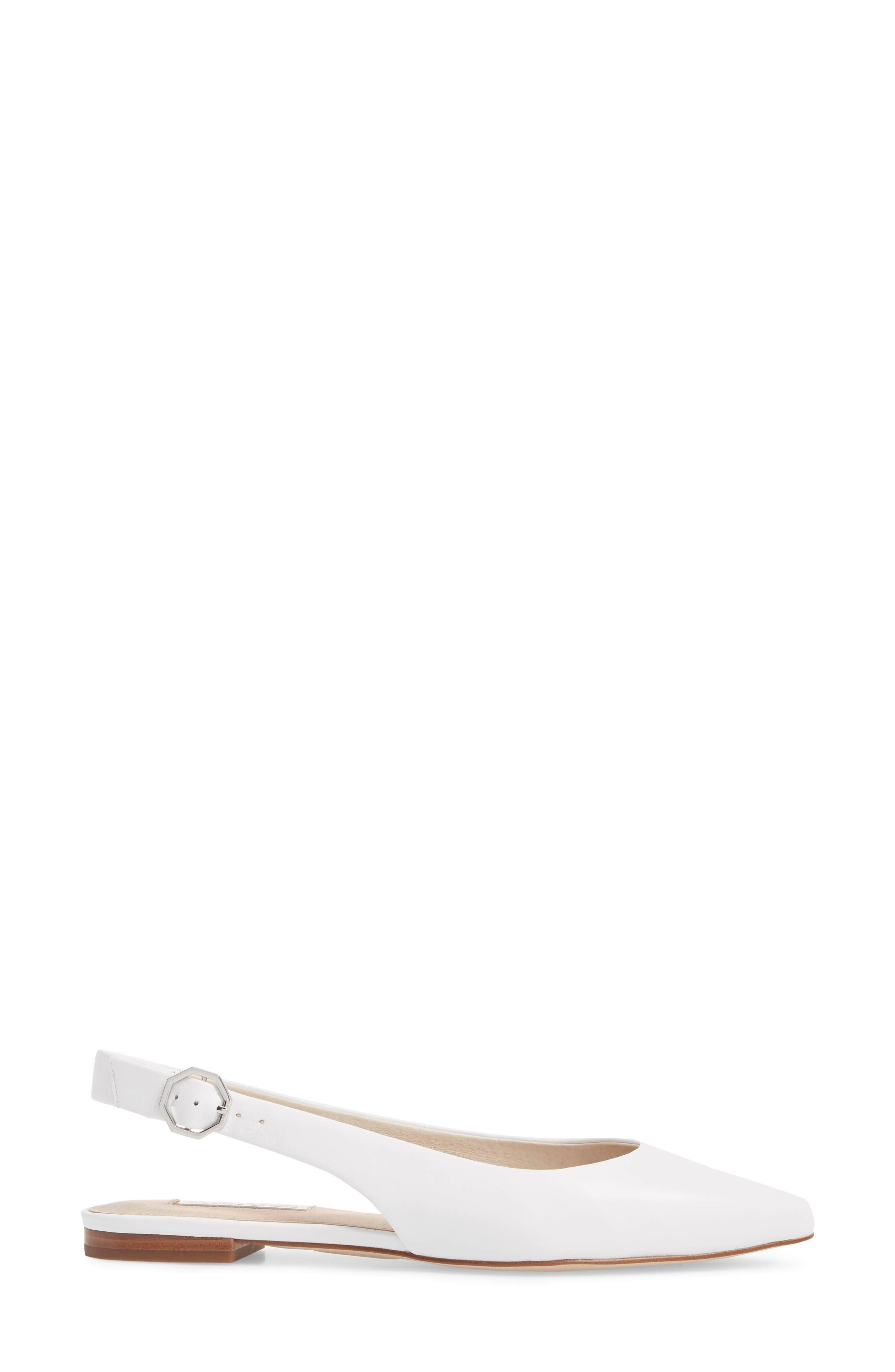 Astrya Slingback Flat,                             Alternate thumbnail 4, color,                             White Leather